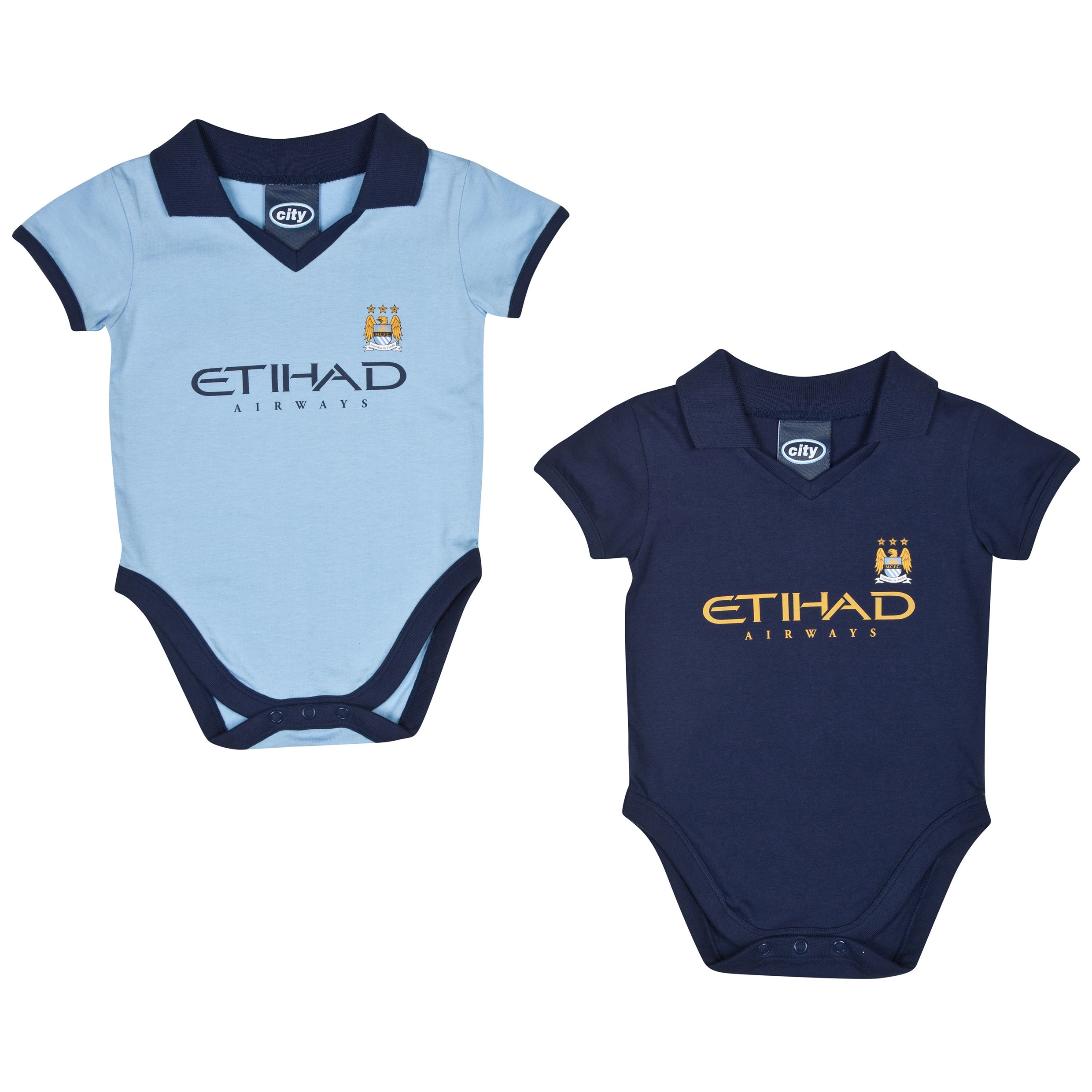 Manchester City 14/15 2Pk Kit Bodysuits - Sky/Navy - Baby