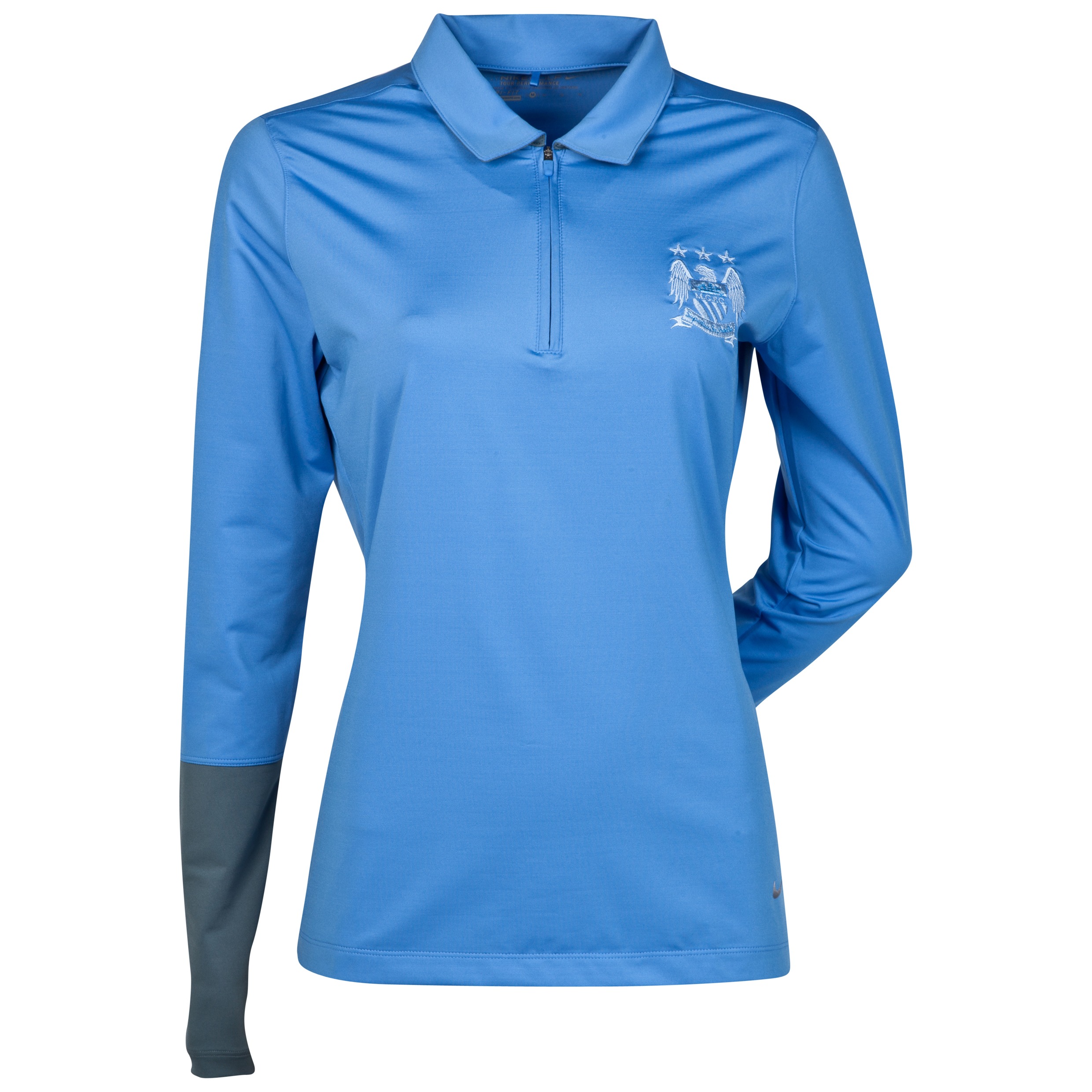 Manchester City Nike UV Novelty Polo - Long Sleeve - Womens Blue
