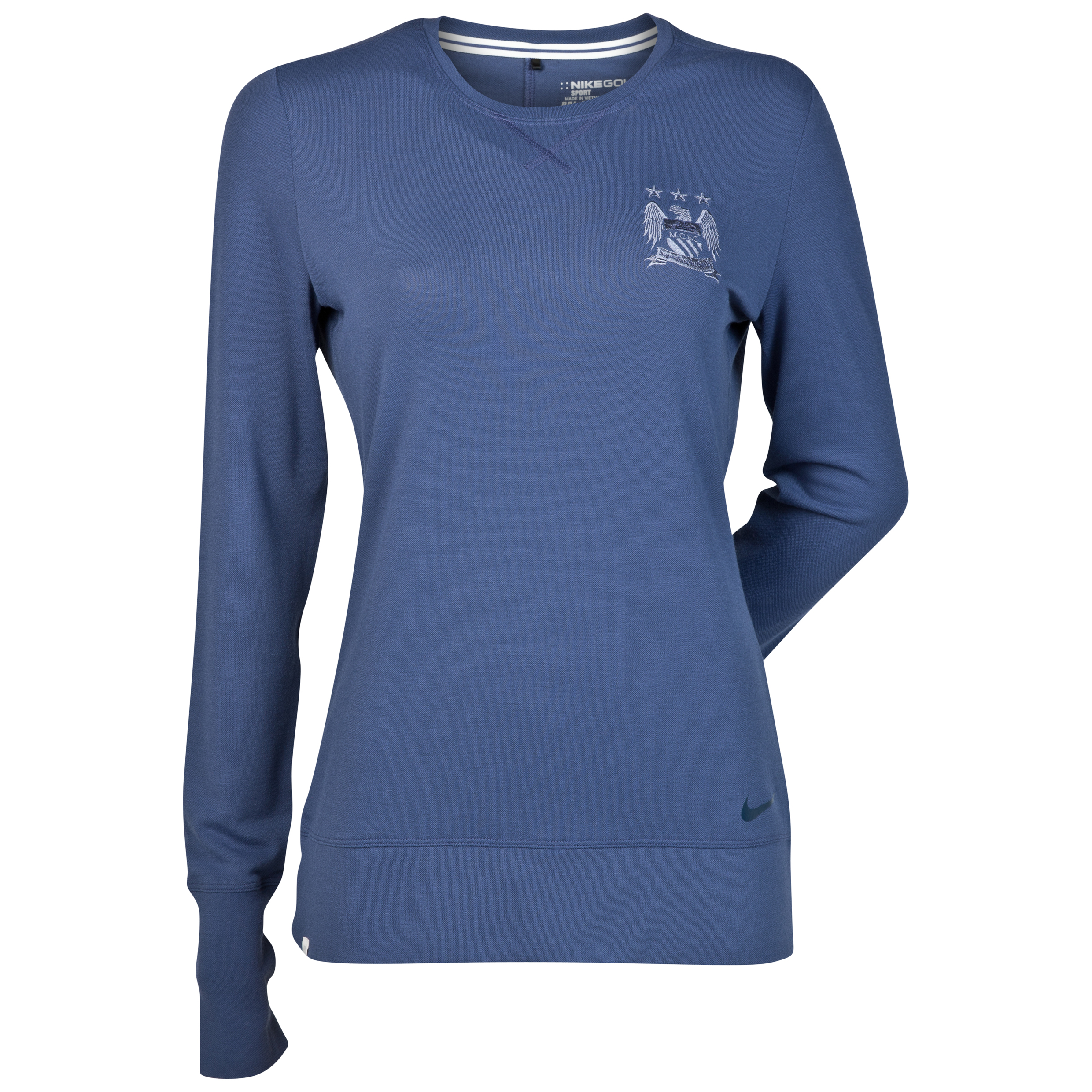 Manchester City Nike Sport Crew T-Shirt - Long Sleeve - Womens Blue