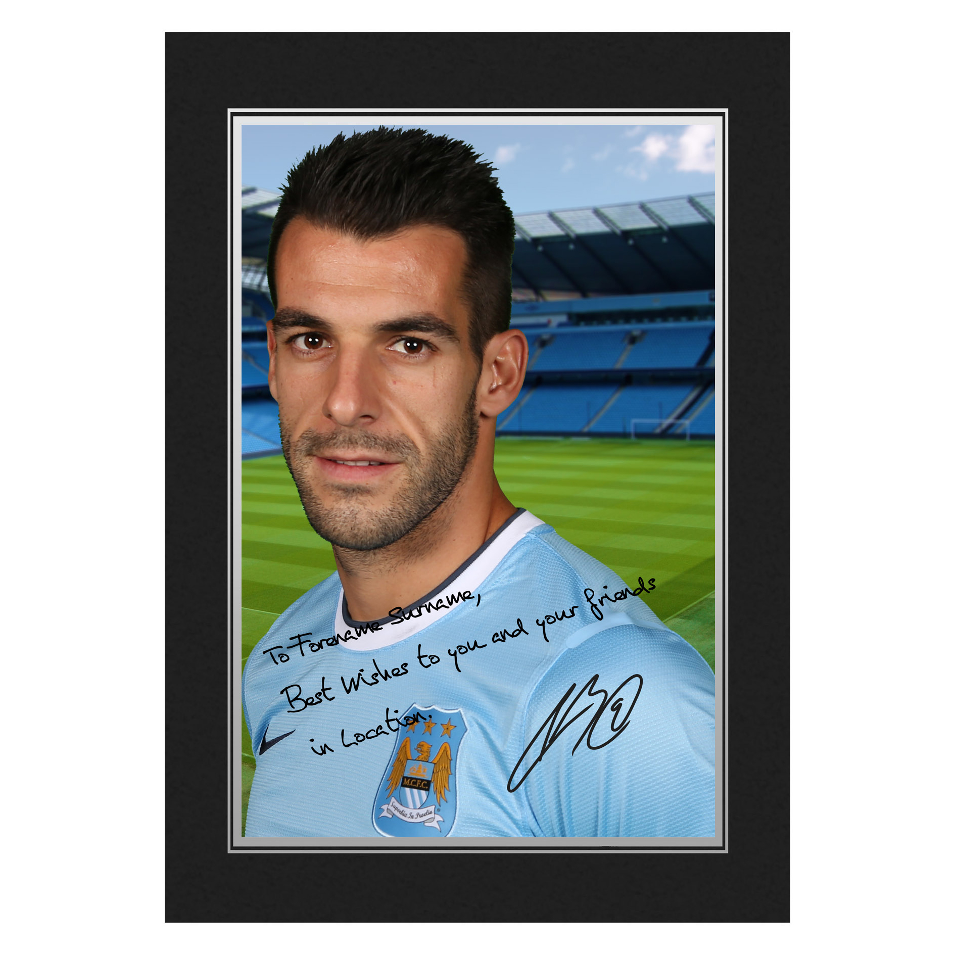 Manchester City Personalised Signature Photo in Presentation Folder - Negredo