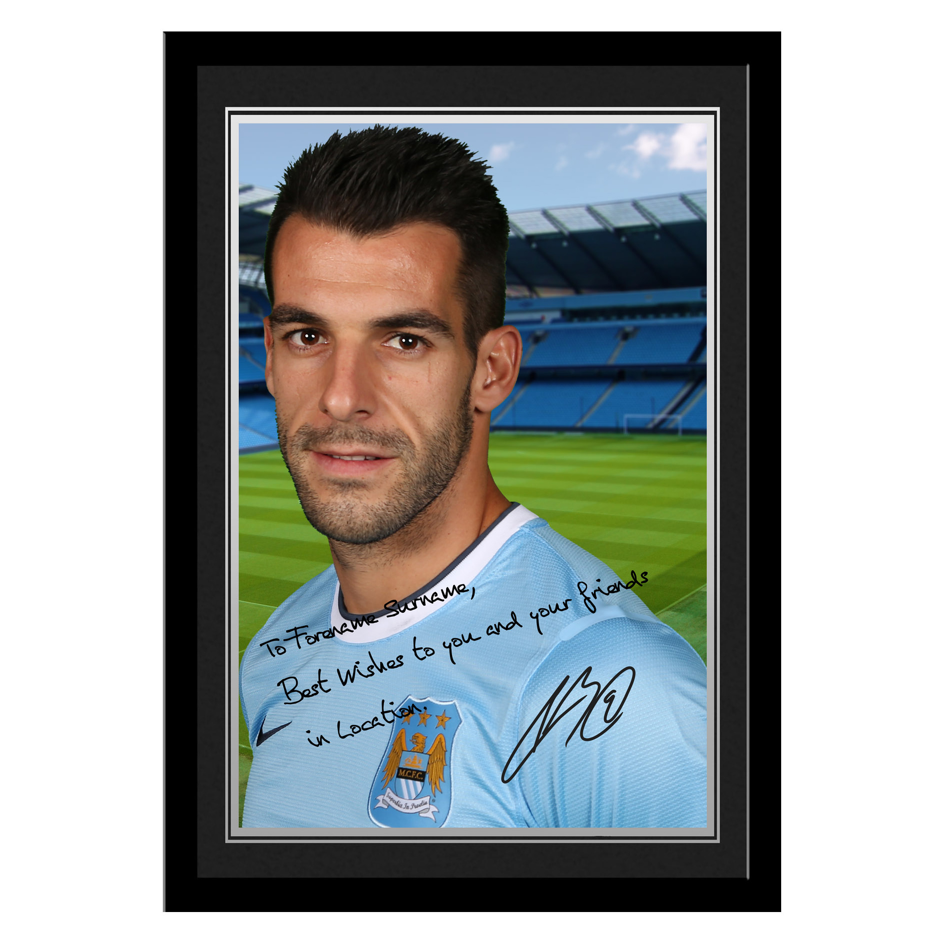 Manchester City Personalised Signature Photo Framed - Negredo