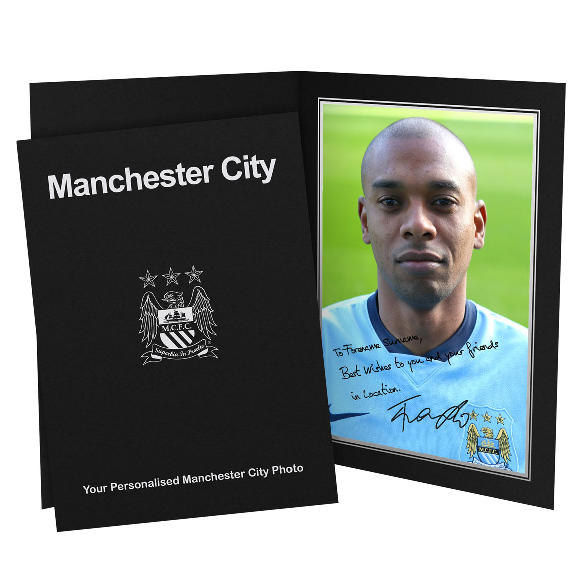 Manchester City Personalised Signature Photo in Presentation Folder - Fernandinho