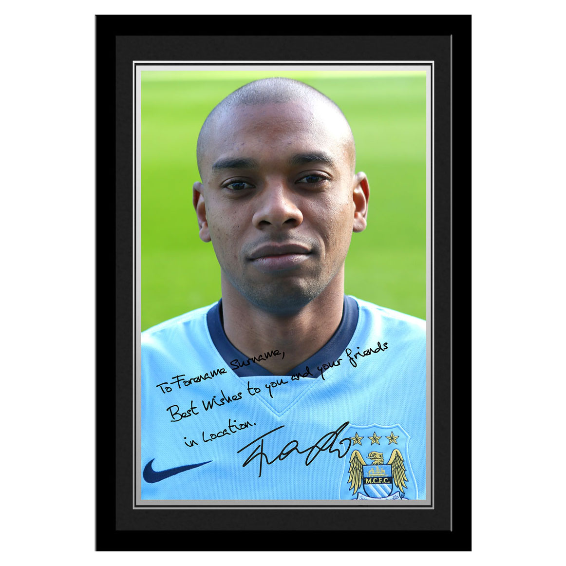 Manchester City Personalised Signature Photo Framed - Fernandinho