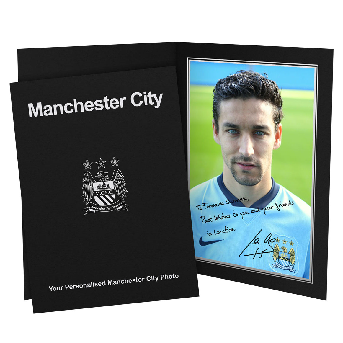 Manchester City Personalised Signature Photo in Presentation Folder - Navas