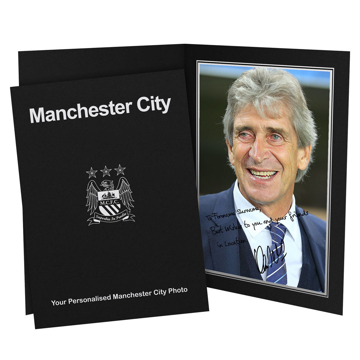 Manchester City Personalised Signature Photo in Presentation Folder - Pellegrini