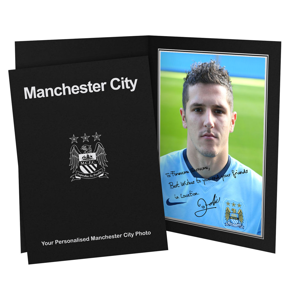 Manchester City Personalised Signature Photo in Presentation Folder - Jovetic