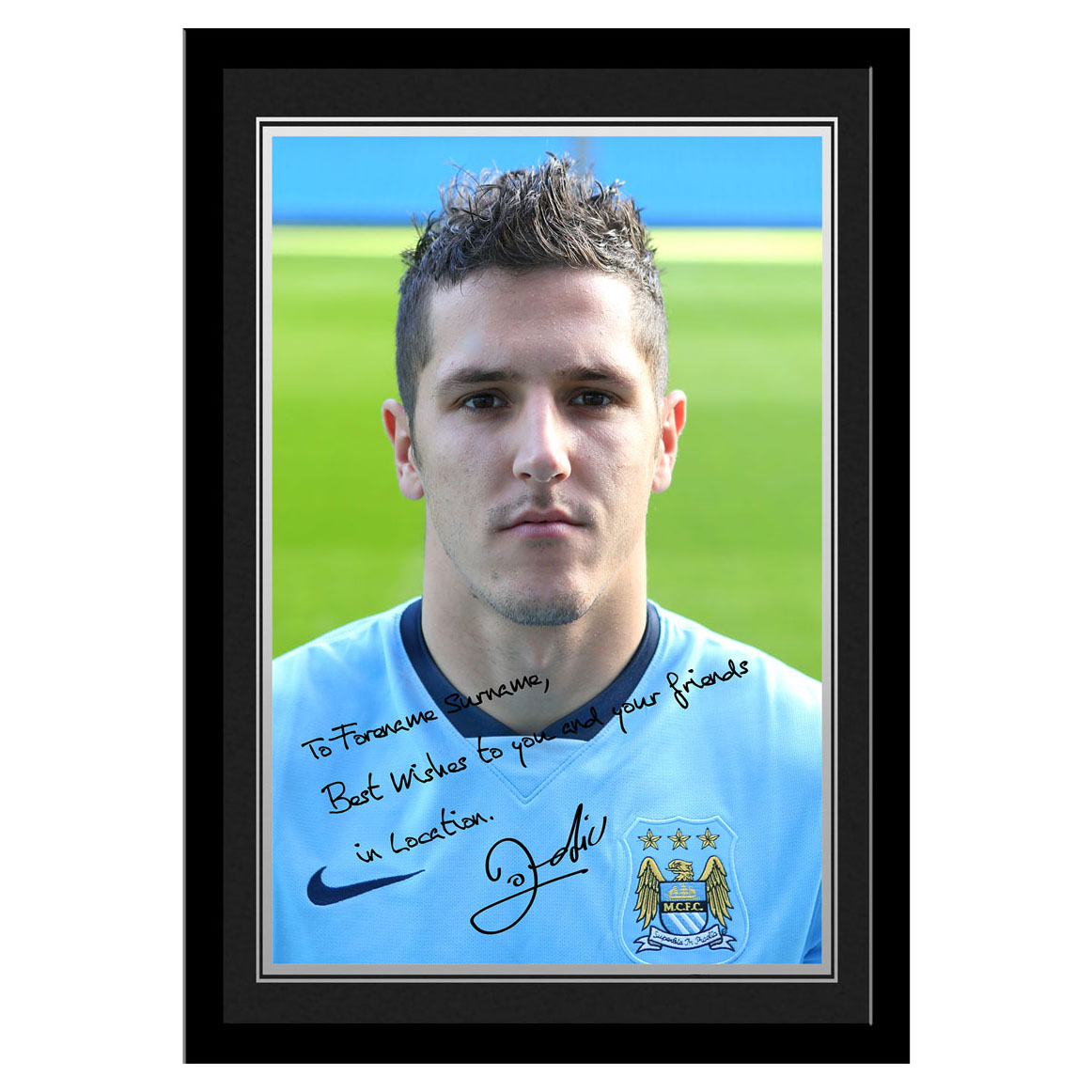 Manchester City Personalised Signature Photo Framed - Jovetic