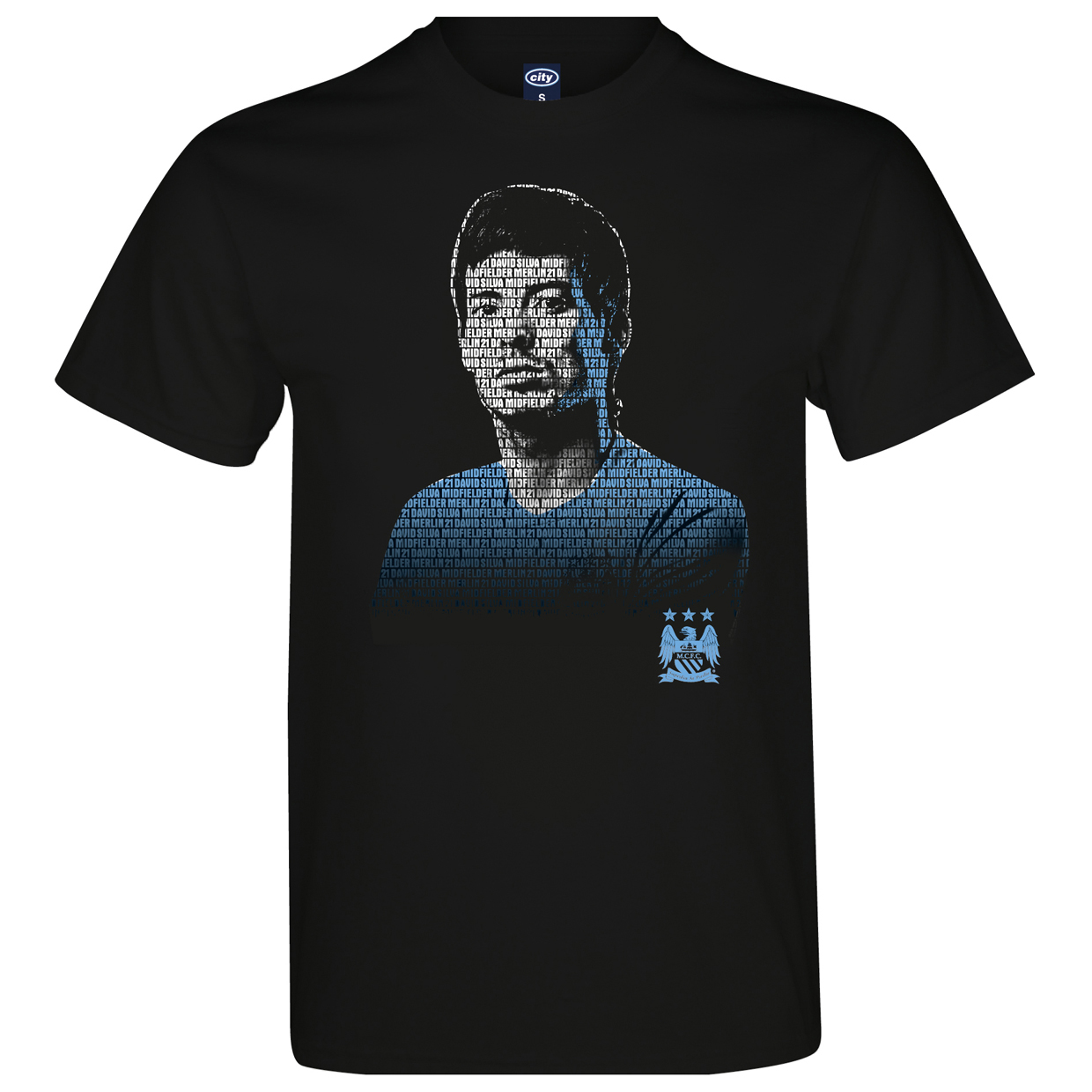 Manchester City 2 for 20 Silva T-Shirt Black