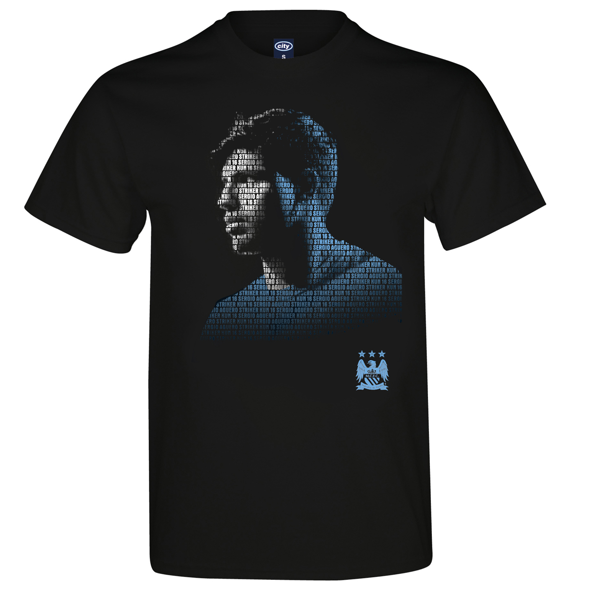 Manchester City 2 For 20 Aguero T-Shirt Black