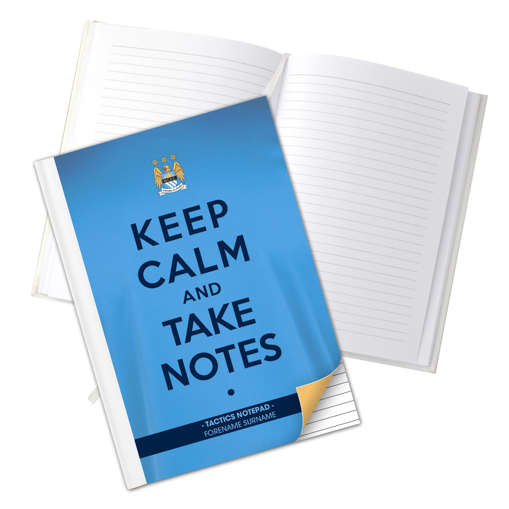 Manchester City Personalised Keep Calm & Take Notes A5 Hardback Notebook