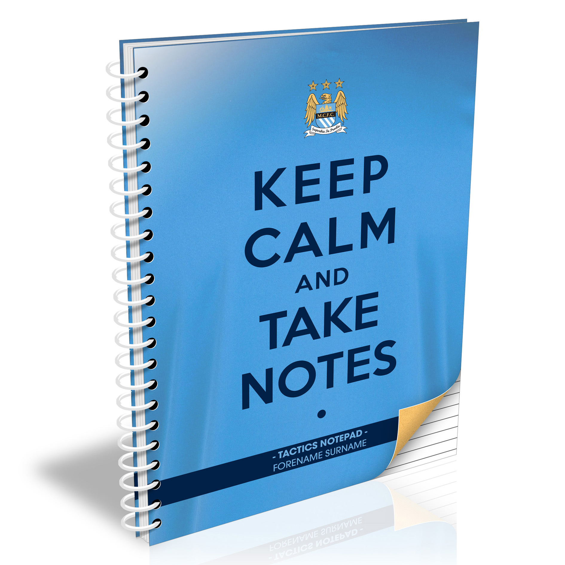 Manchester City Personalised Keep Calm & Take Notes A4 Paperback Notebook