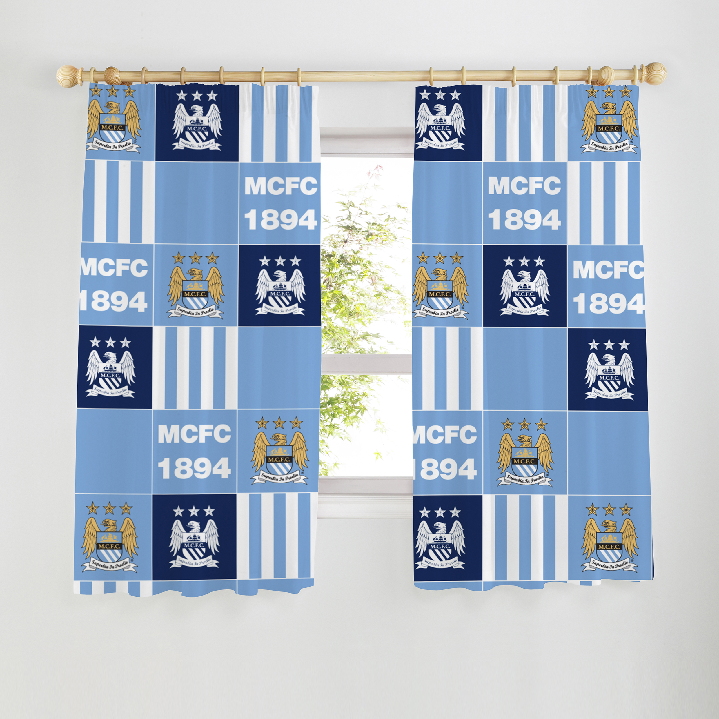 Manchester City Patchwork 54 inch Curtains