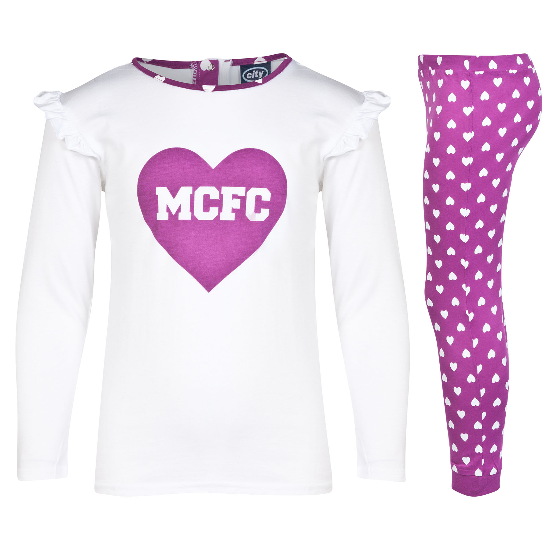 Manchester City Pyjamas - Magenta Pink/White - Girls