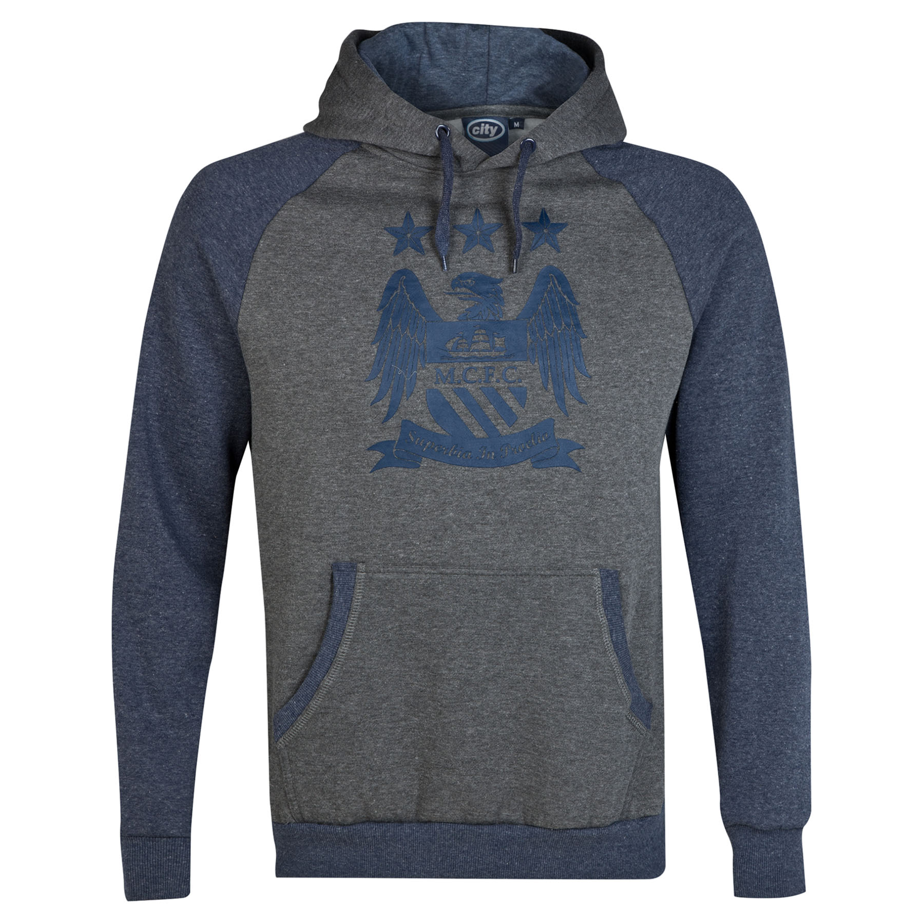 Manchester City Essential Print Hoodie - Heather Navy - Mens