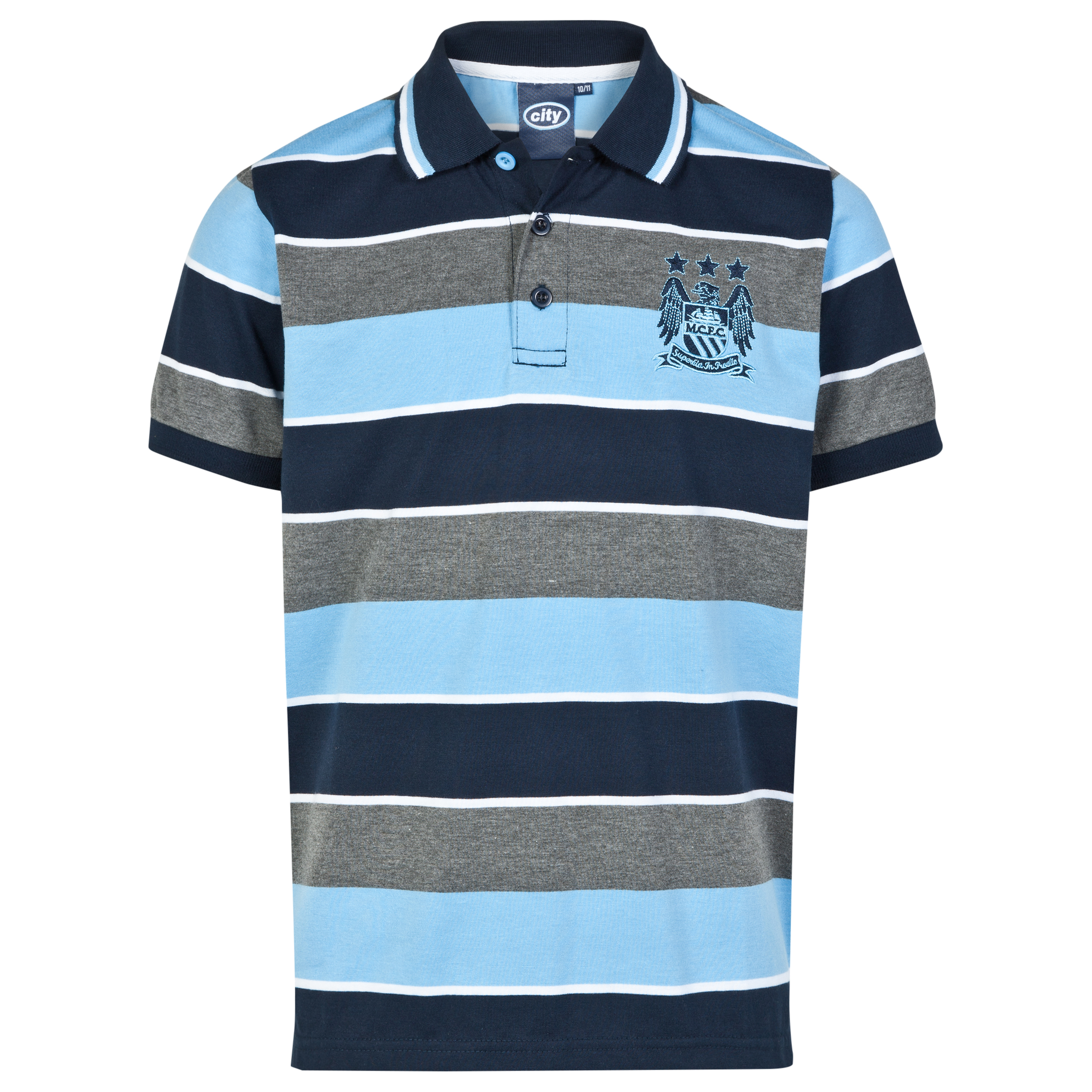 Manchester City Essential Stripe Polo Shirt - Grey/Navy/Sky - Older Boys