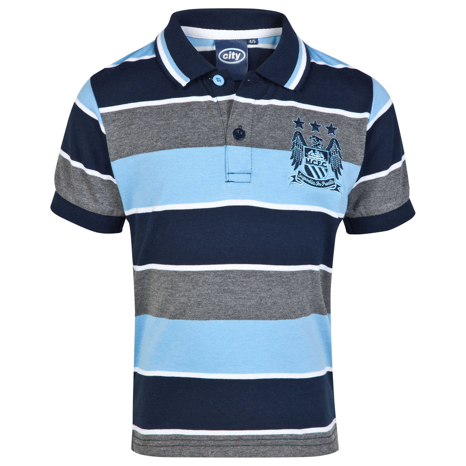 Manchester City Essential Stripe Polo Shirt - Grey/Navy/Sky - Infant Boys