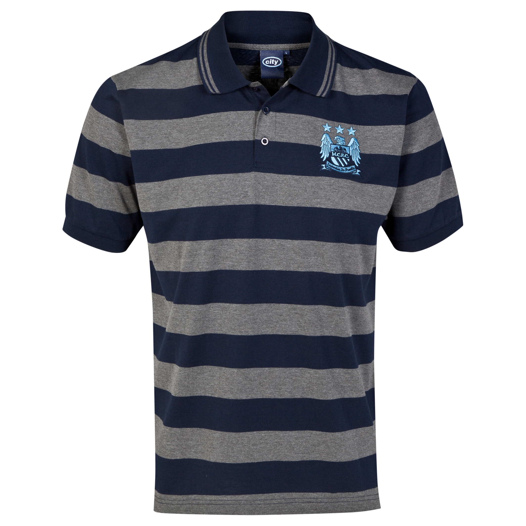 Manchester City Essential Stripe Polo Shirt - Navy/Grey - Mens