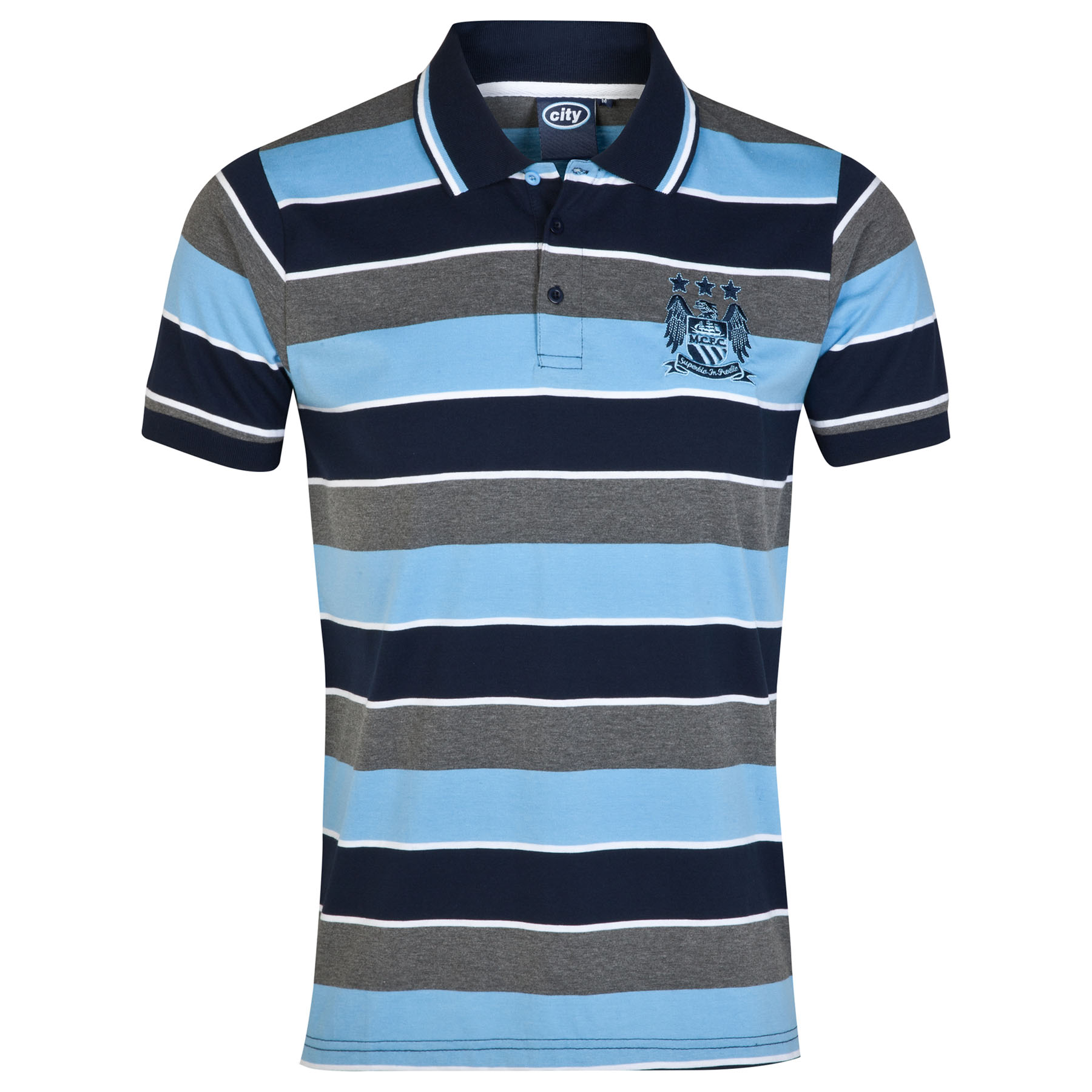 Manchester City Essential Stripe Polo Shirt - Grey/Navy/Sky - Mens