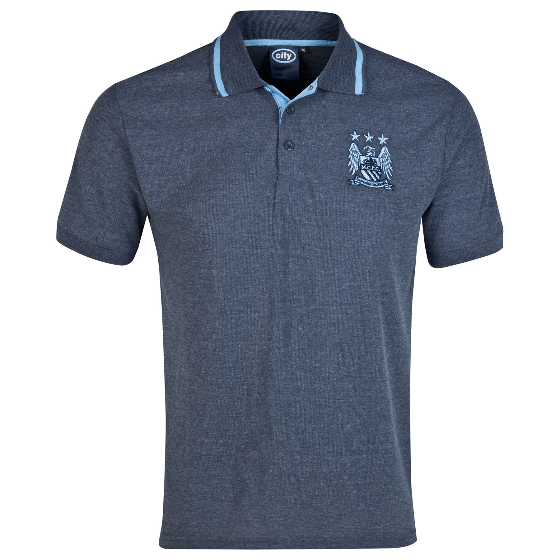 Manchester City Essential Polo Shirt - Heather Navy - Mens