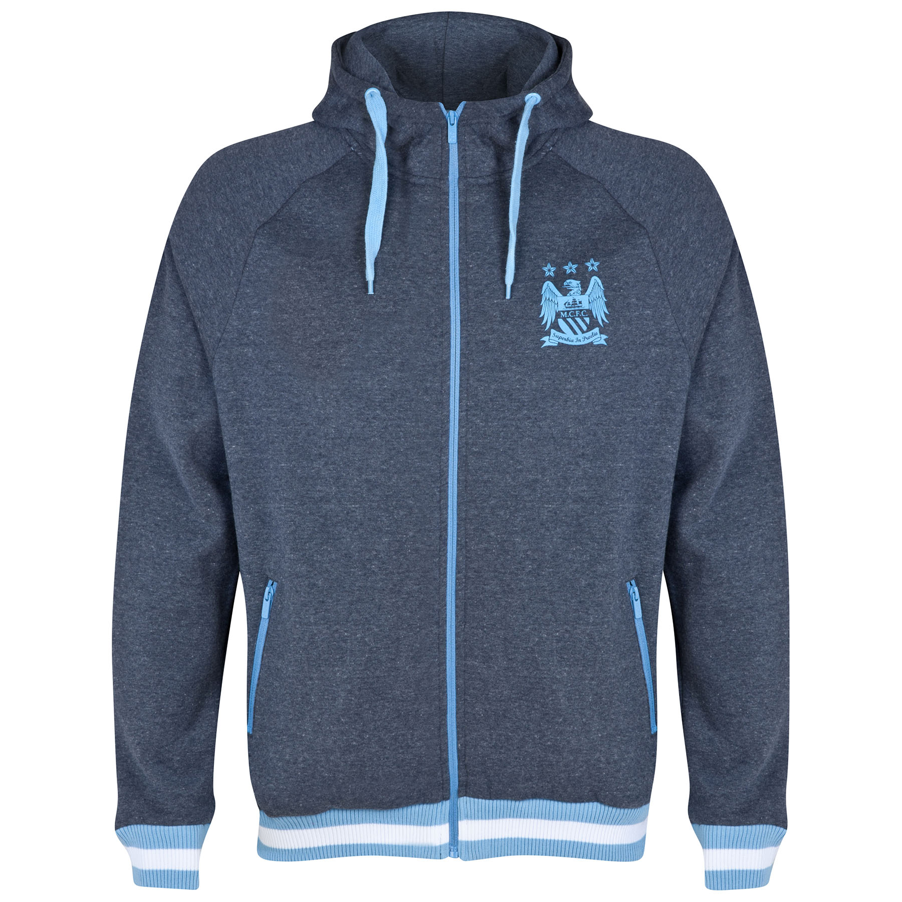 Manchester City Classic Hoodie - Heather Navy - Mens