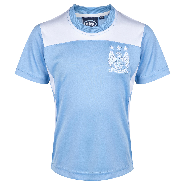 Manchester City Essential Poly T-Shirt - Sky/White - Infant Boys