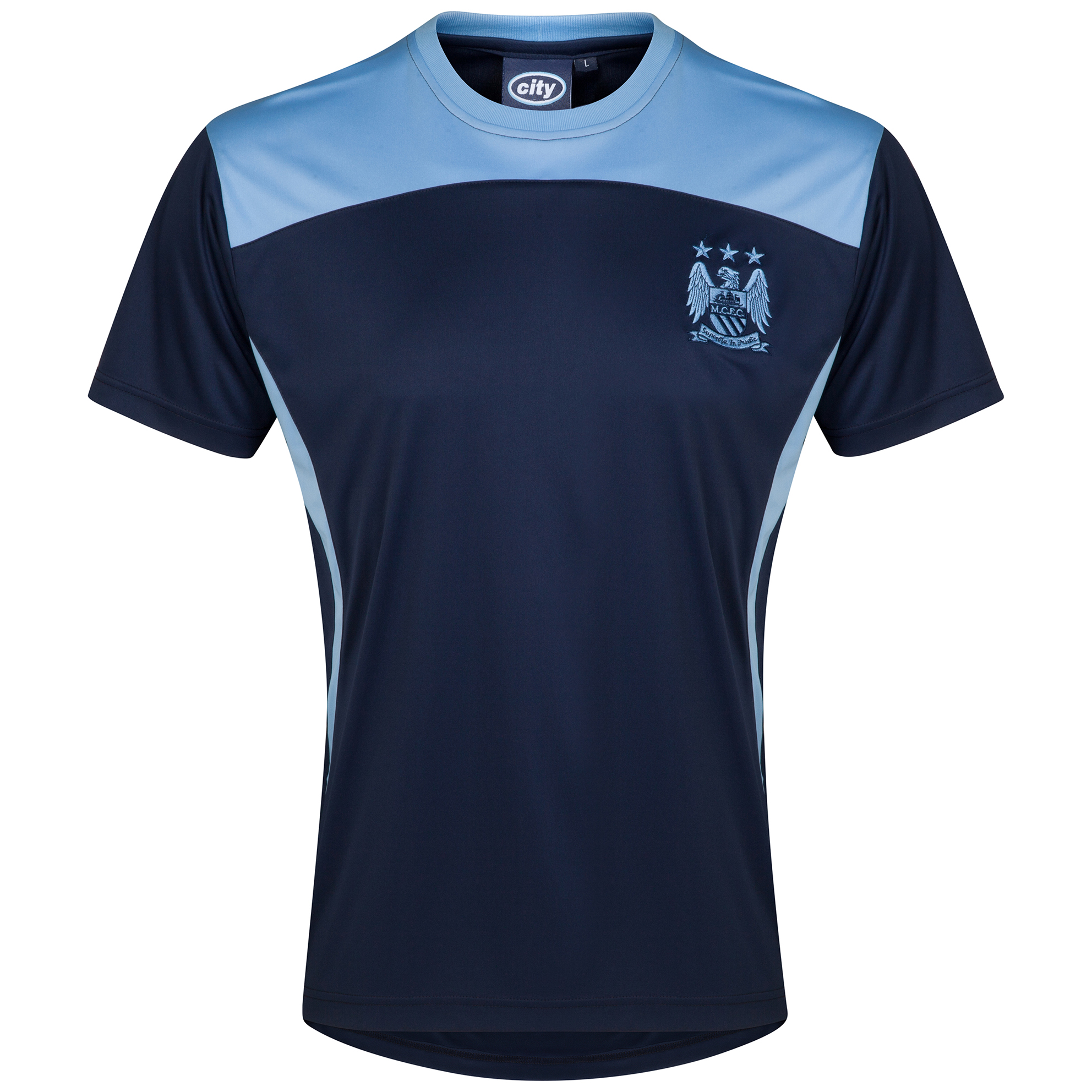 Manchester City Essential Poly T-Shirt - Navy/Sky - Mens