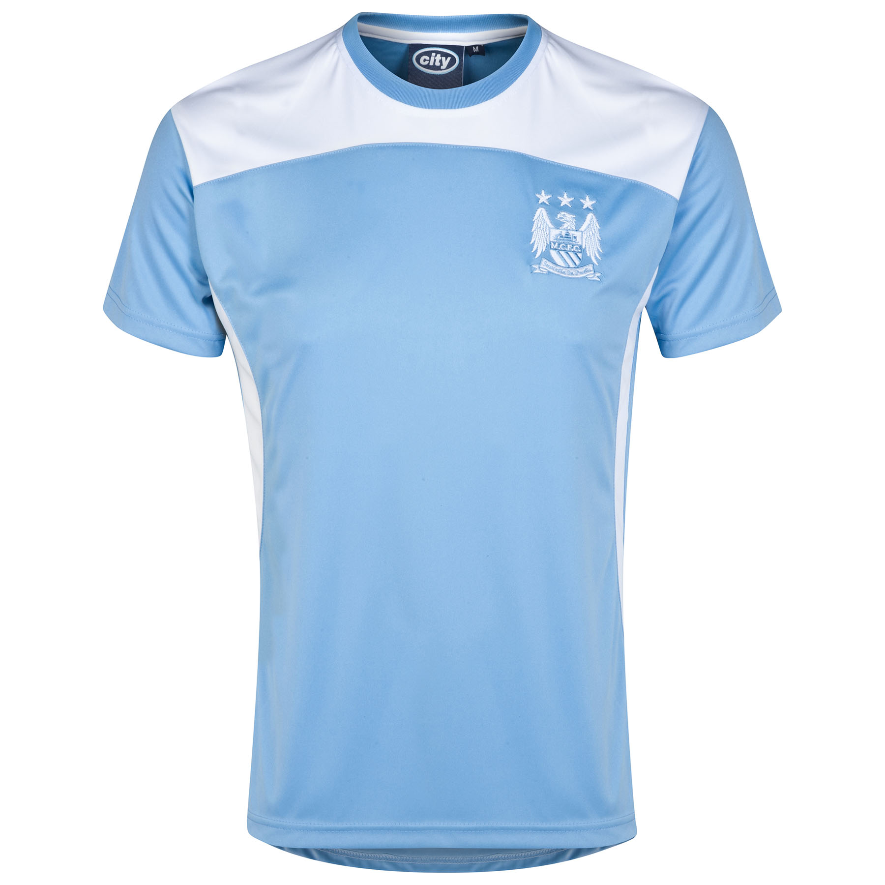 Manchester City Essential Poly T-Shirt - Sky/White - Mens
