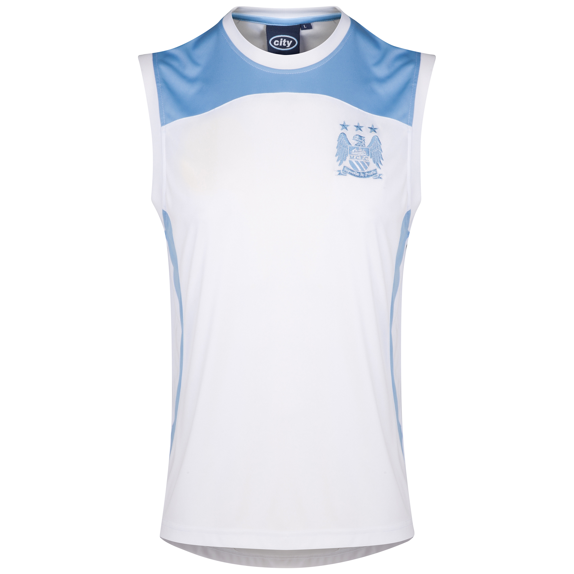 Manchester City Classic Poly Vest - White/Sky Blue - Mens