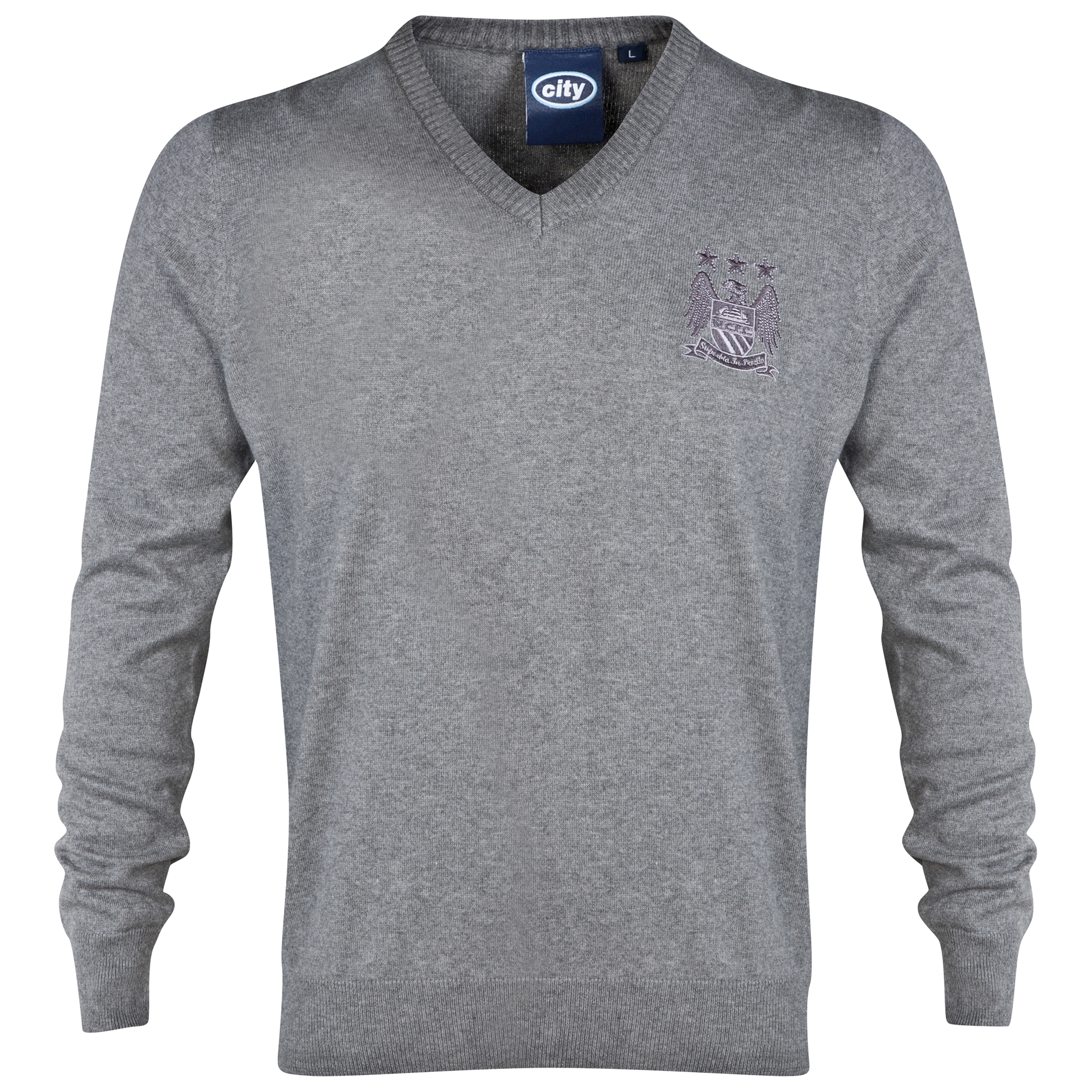 Manchester City Essential V-Neck Jumper - Grey - Mens