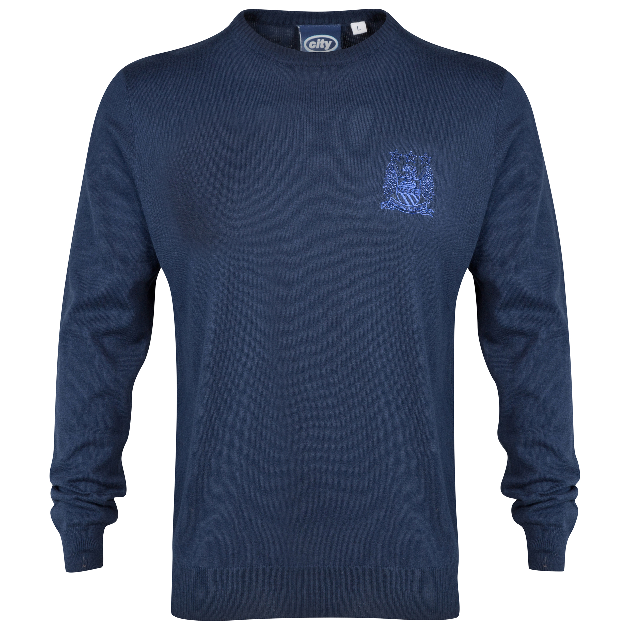 Manchester City Essential Crew Neck Jumper - Navy - Mens