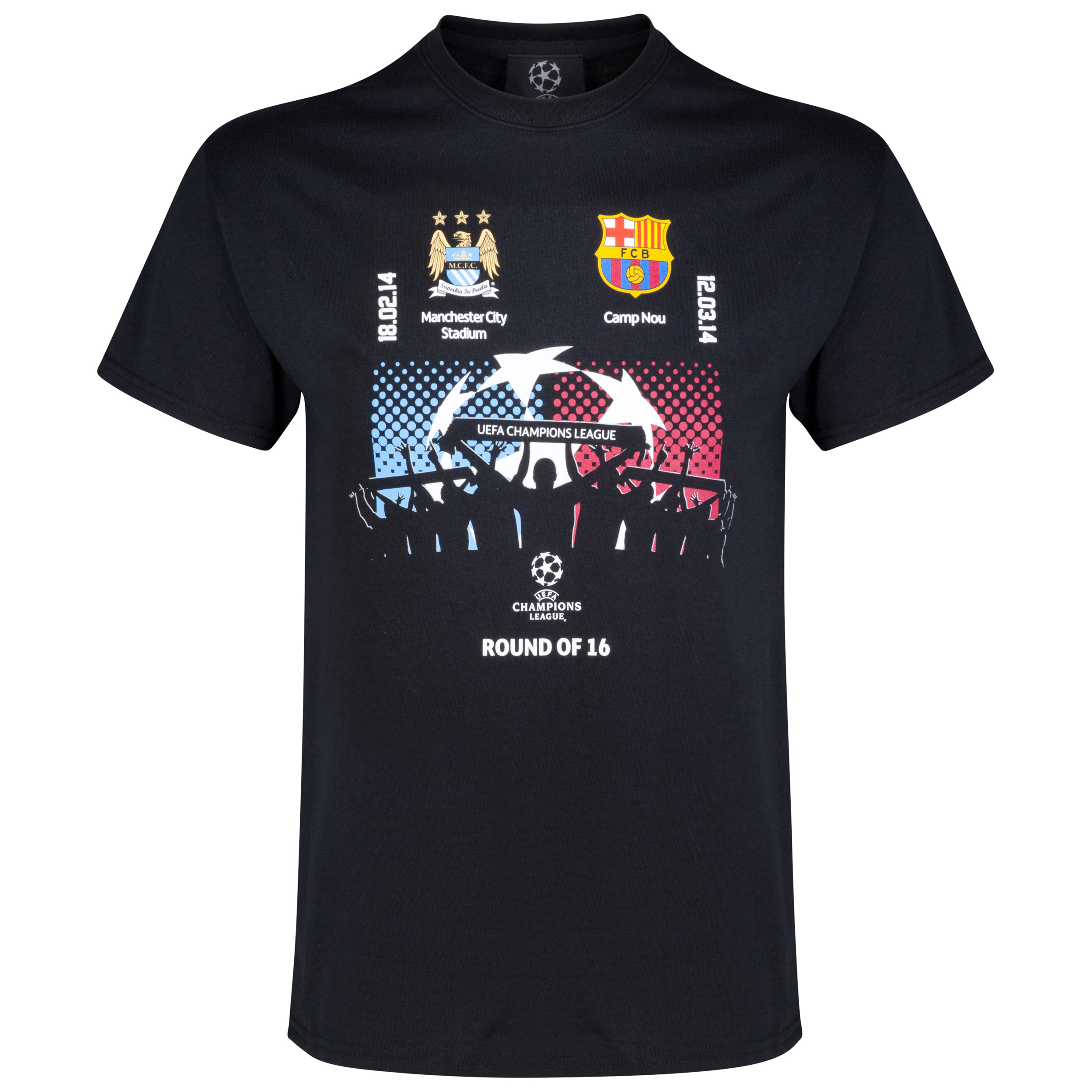 Manchester City UEFA Champions League Man City v Barcelona T-Shirt Black
