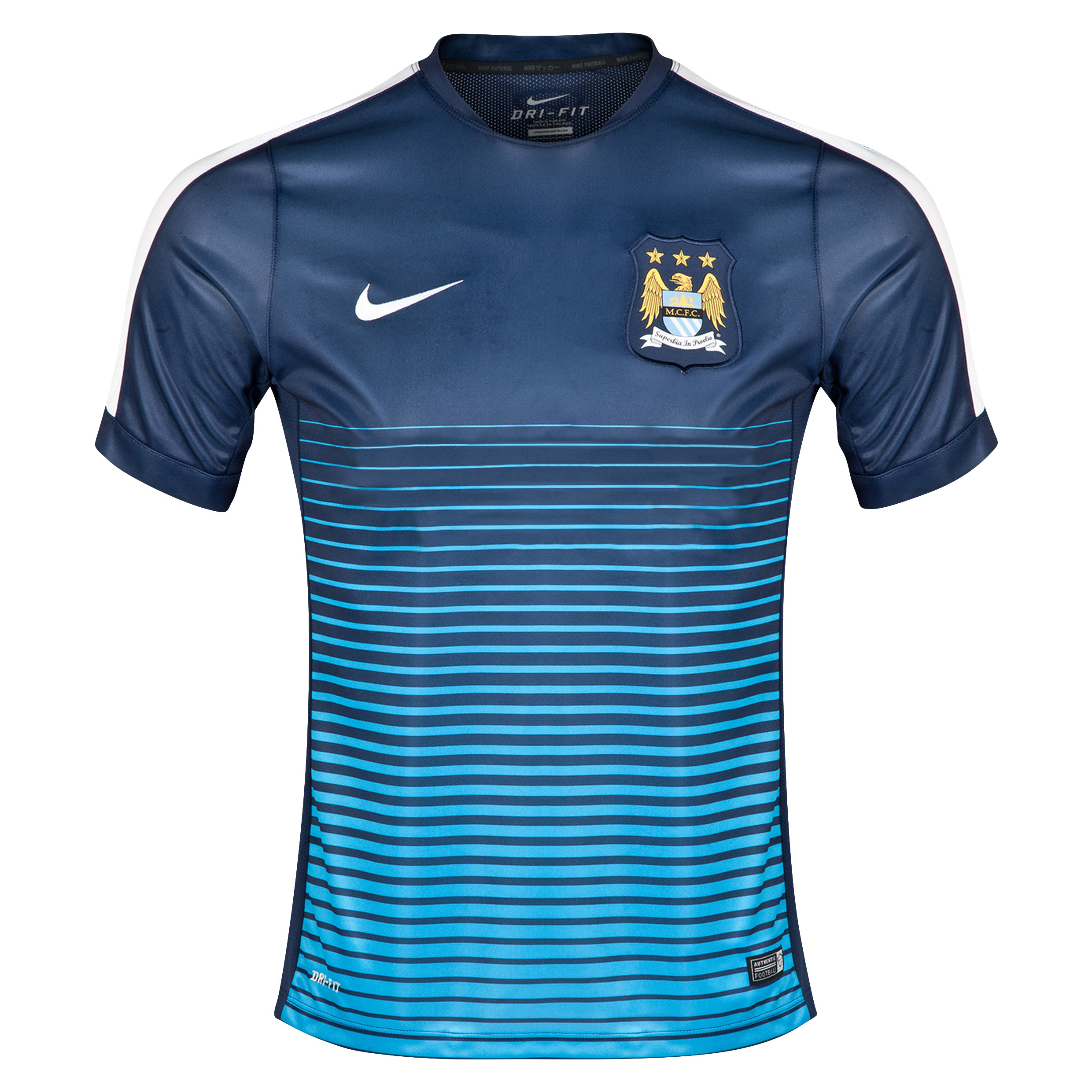 Manchester City Squad Short Sleeve Pre Match Top Navy