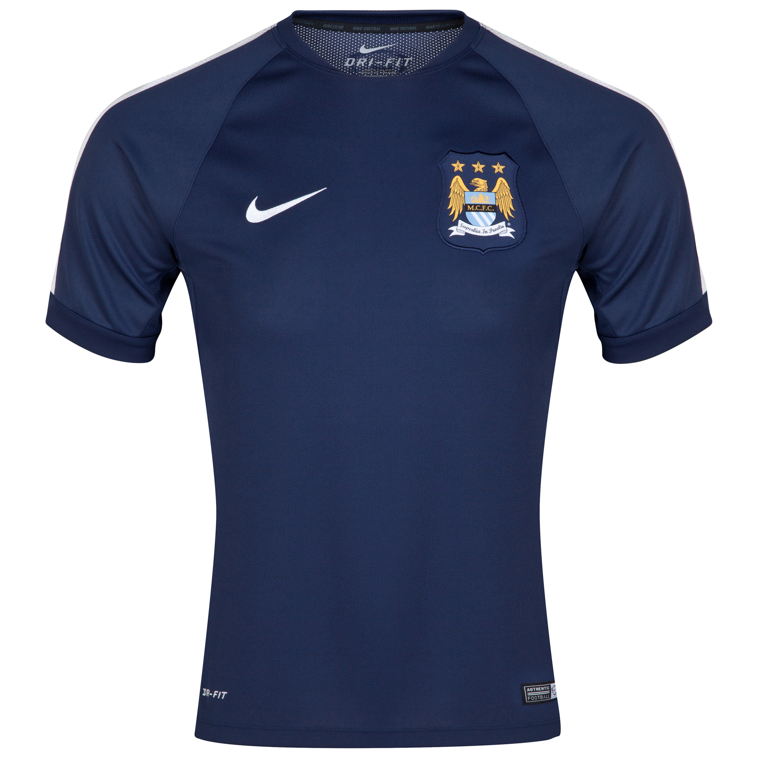 Manchester City Squad Short Sleeve Training Top Navy