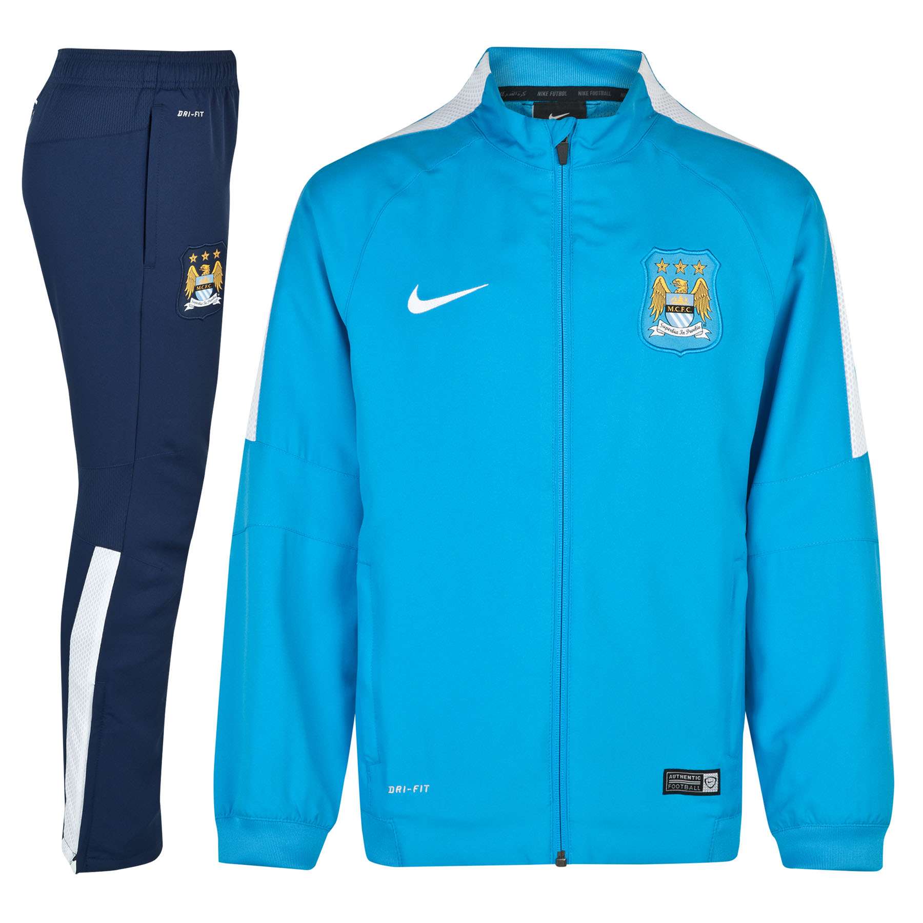 Manchester City Squad Sideline Woven Warm Up Tracksuit - Kids Sky Blue
