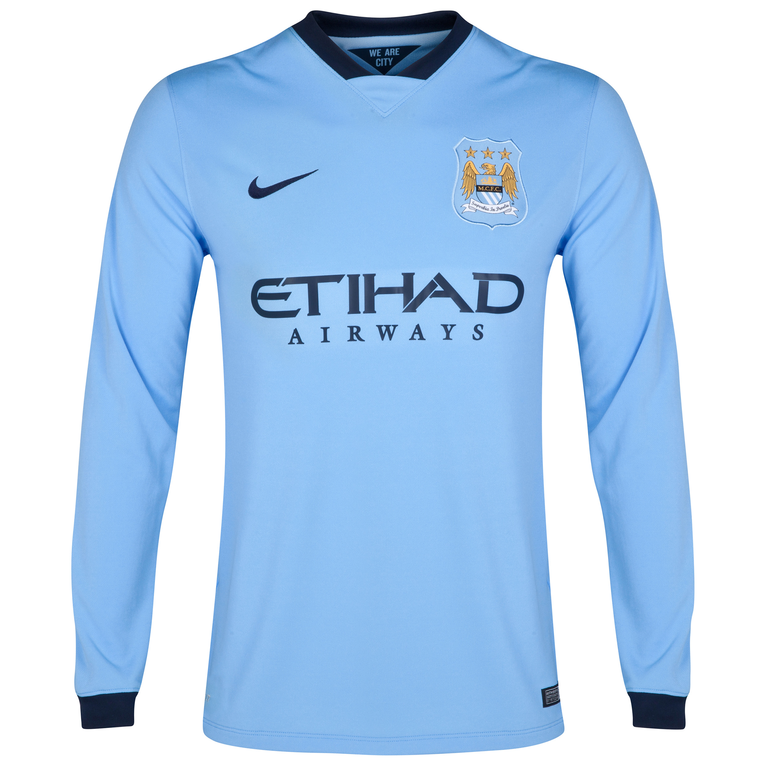Manchester City Home Shirt 2014/15 - Long Sleeve - Kids Sky Blue