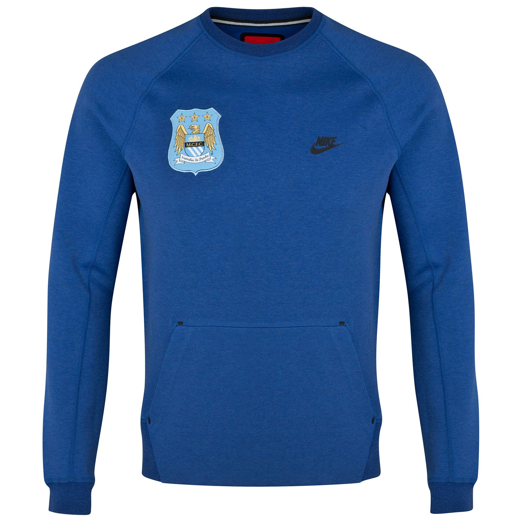 Manchester City Tech Fleece Crew Sweatshirt Royal Blue