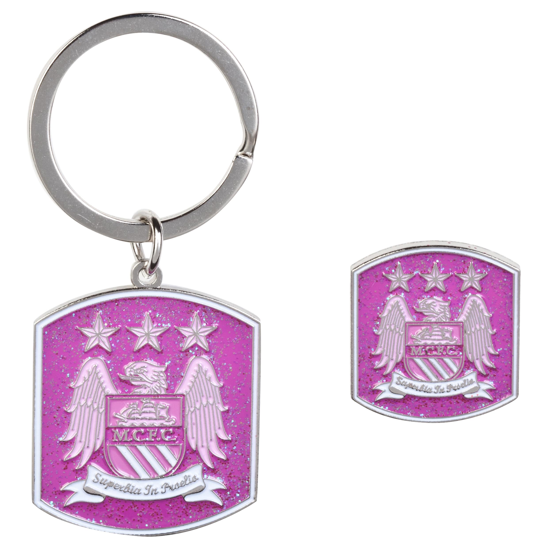 Manchester City Pink Glitter Bagde and Keyring Set