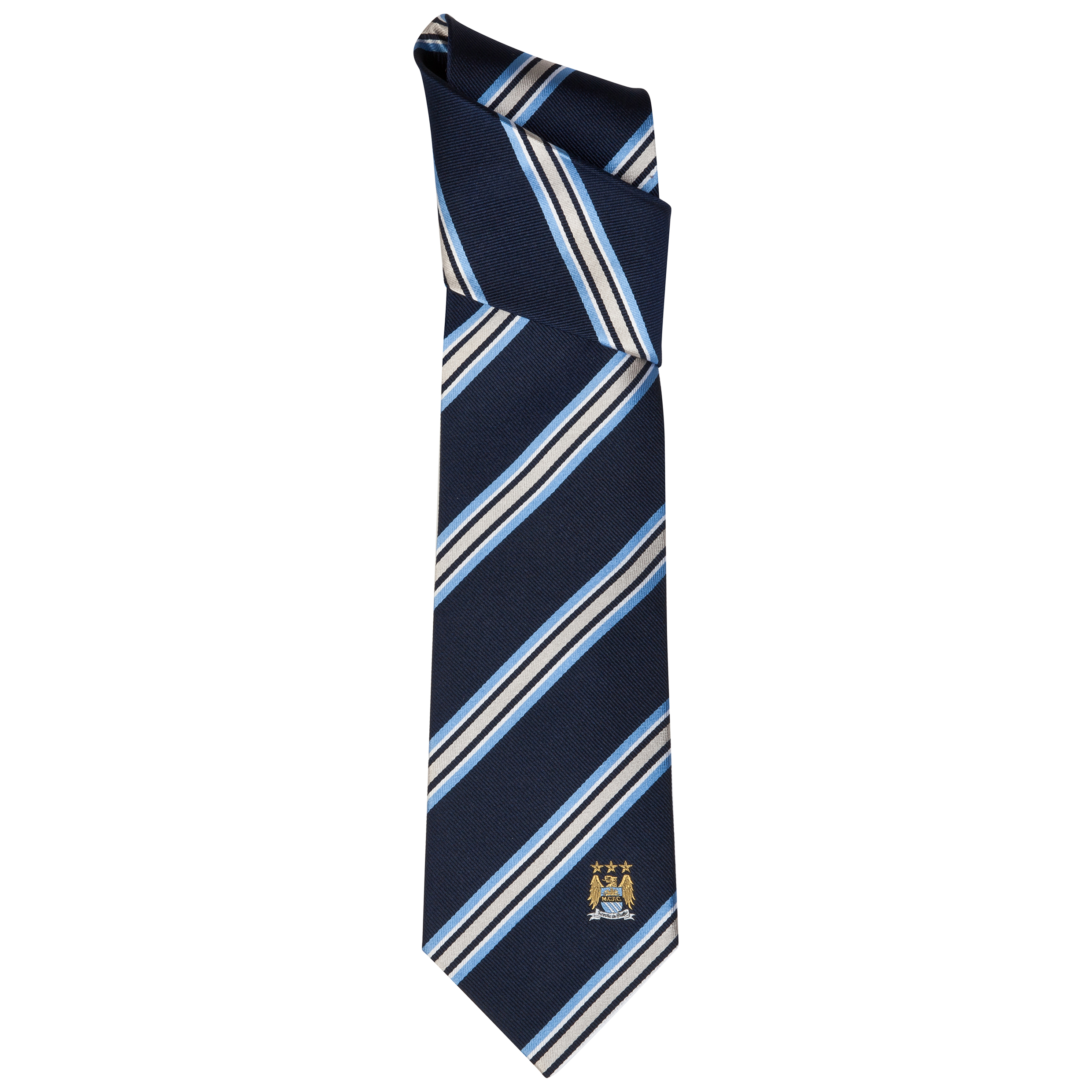 Manchester City Navy/ Blue Stripe Silk Tie