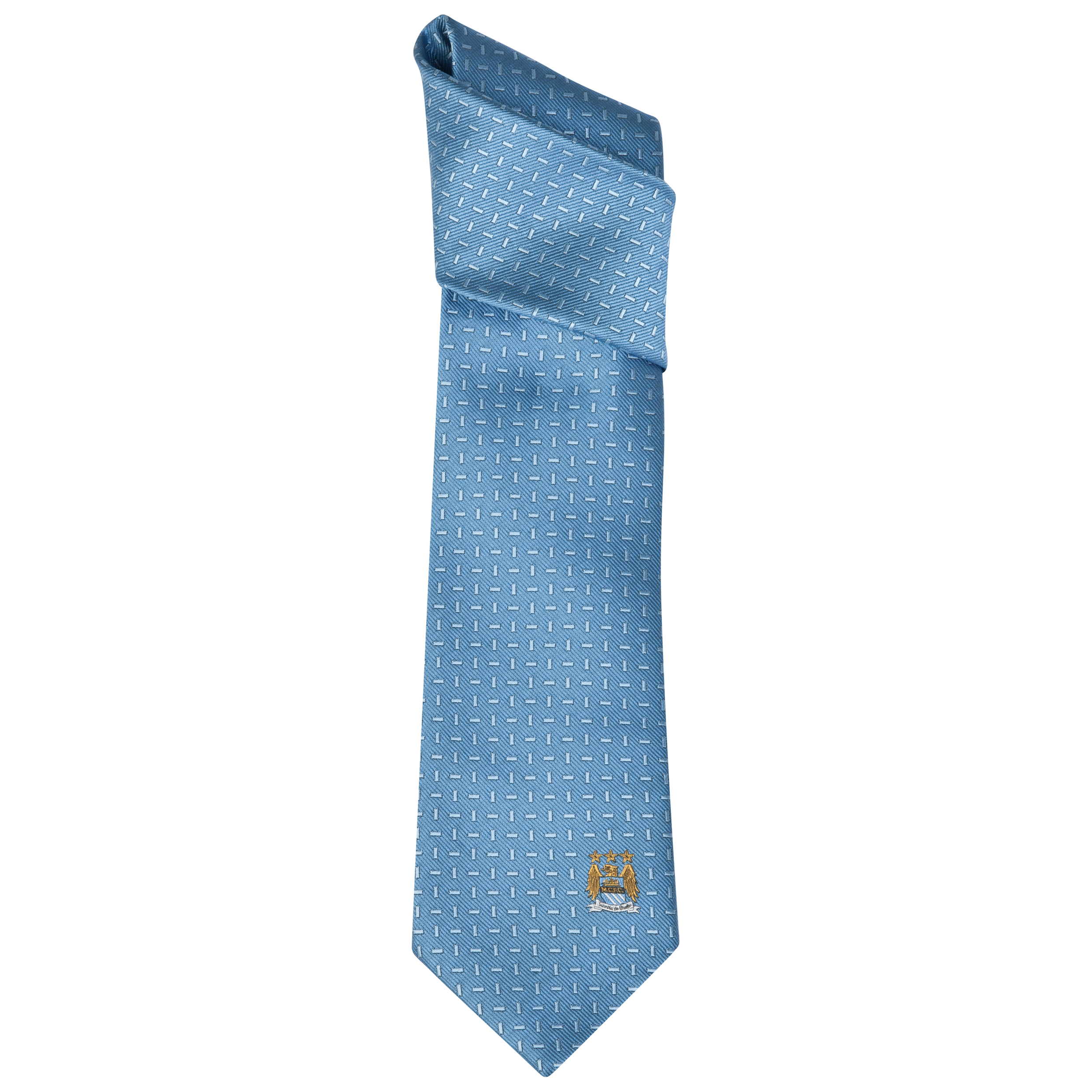 Manchester City Plain Blue Blocks Tie Sky Blue