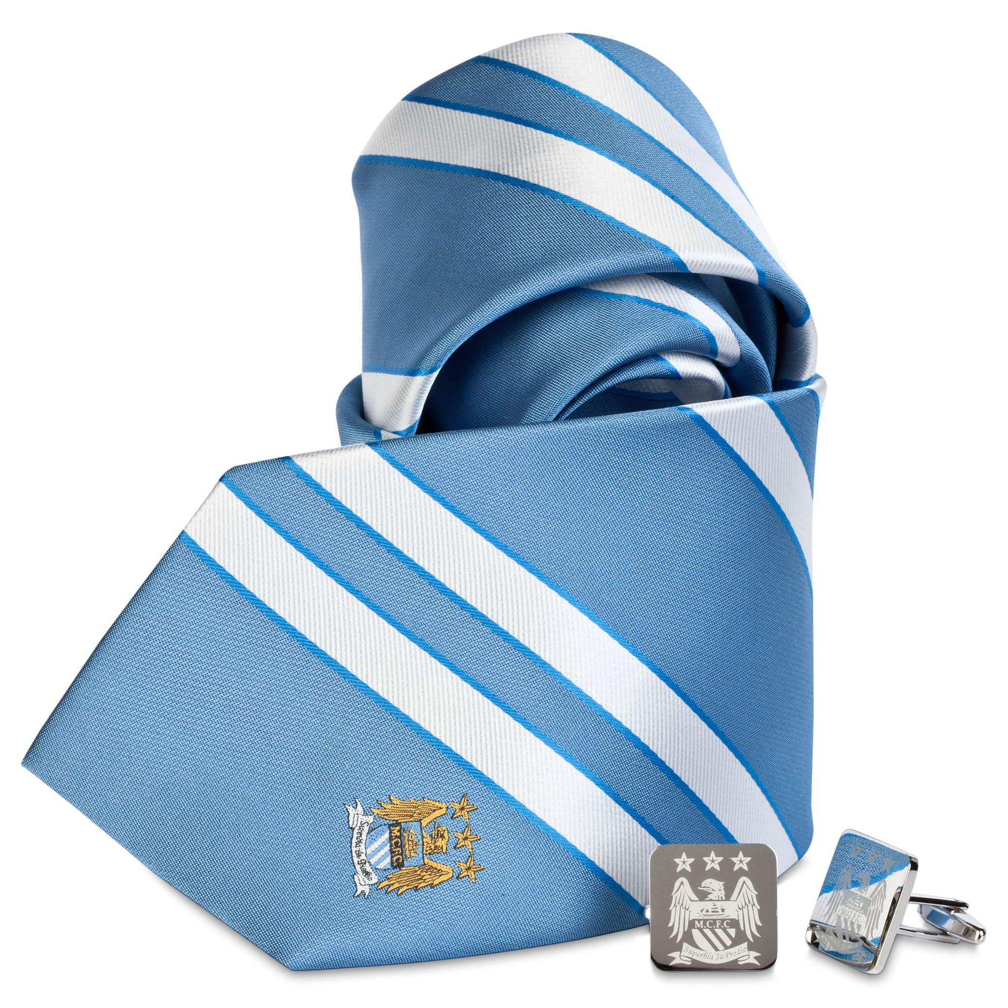 Manchester City Blue/White Cuflink and Tie Boxset