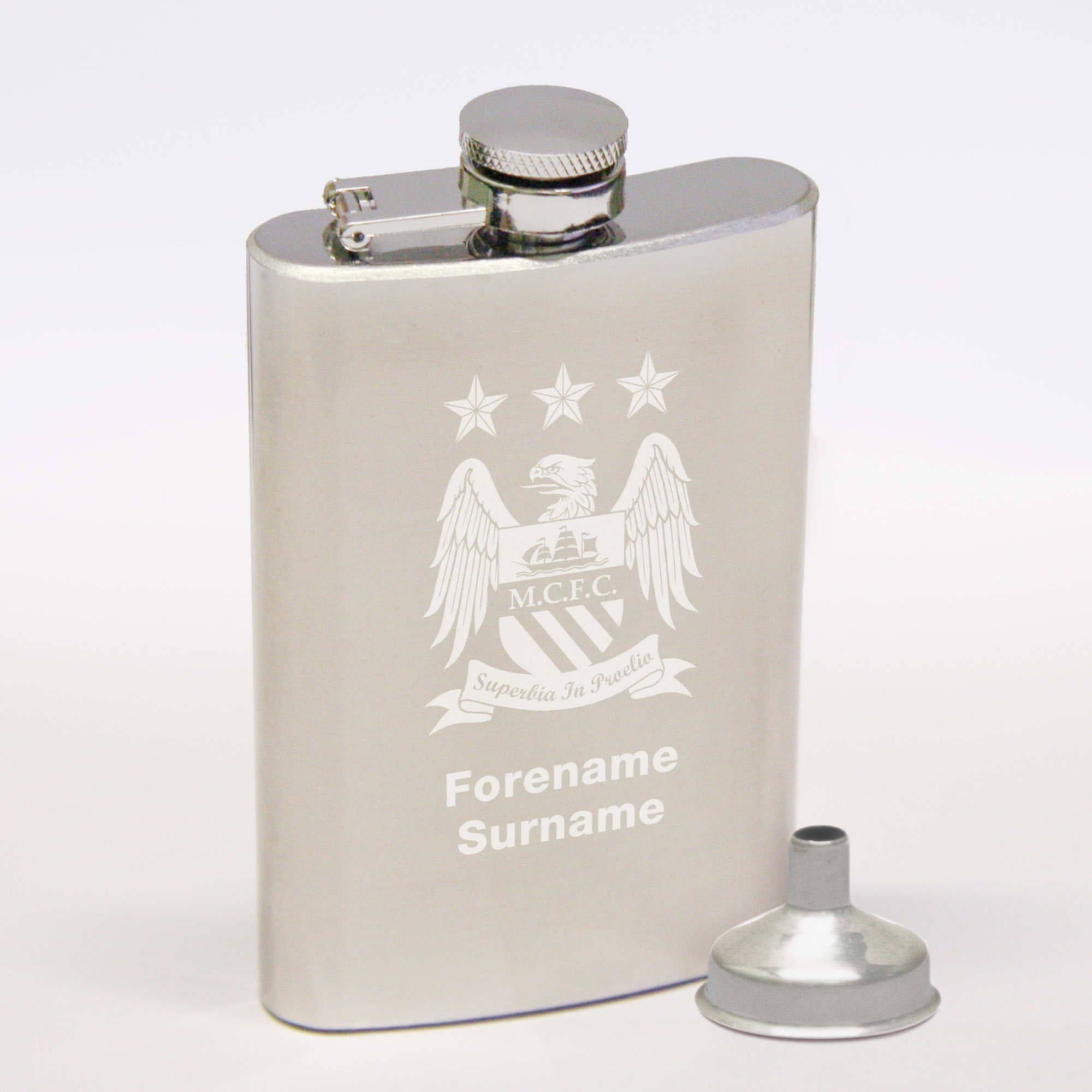 Manchester City Personalised Crest Hip Flask 6oz