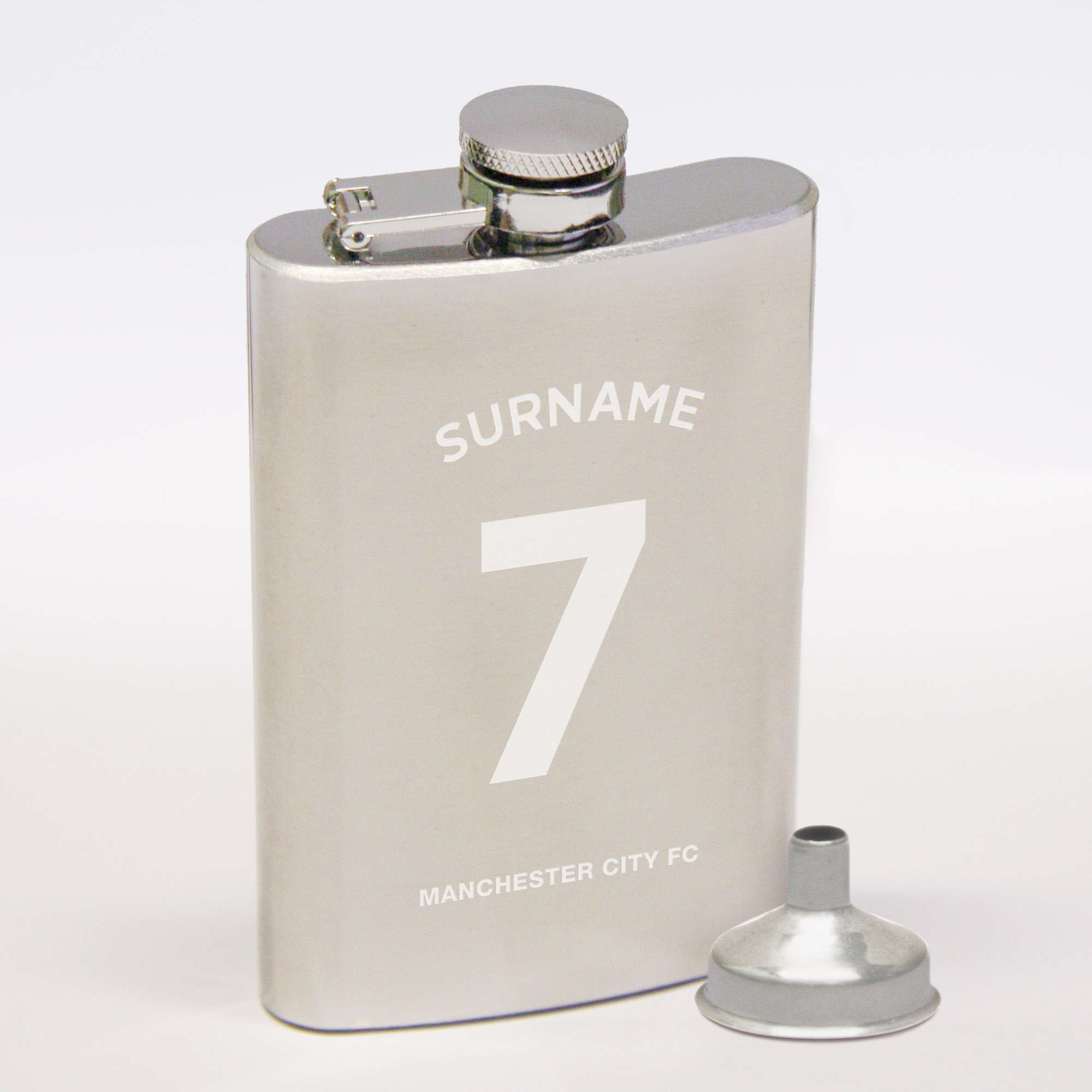Manchester City Personalised Shirt Number Hip Flask 6oz