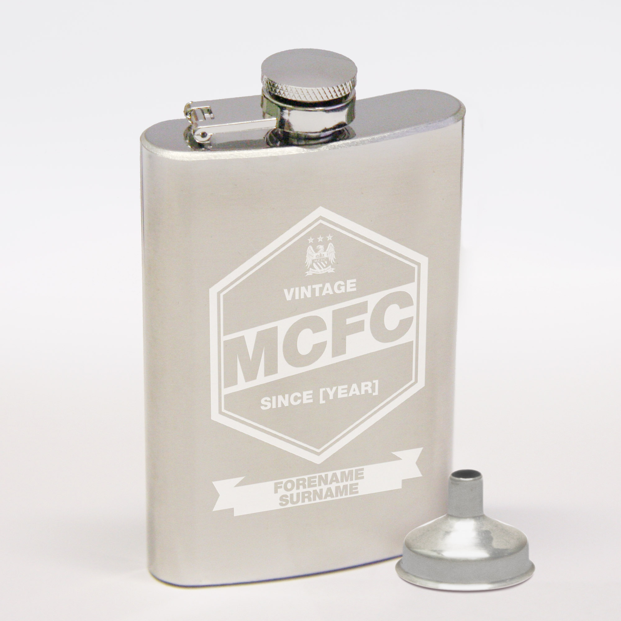 Manchester City Personalised Vintage Hip Flask 2oz