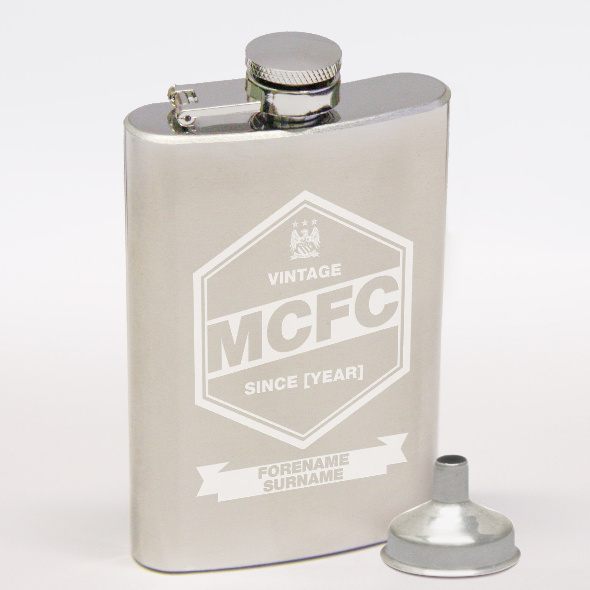 Manchester City Personalised Vintage Hip Flask 6oz