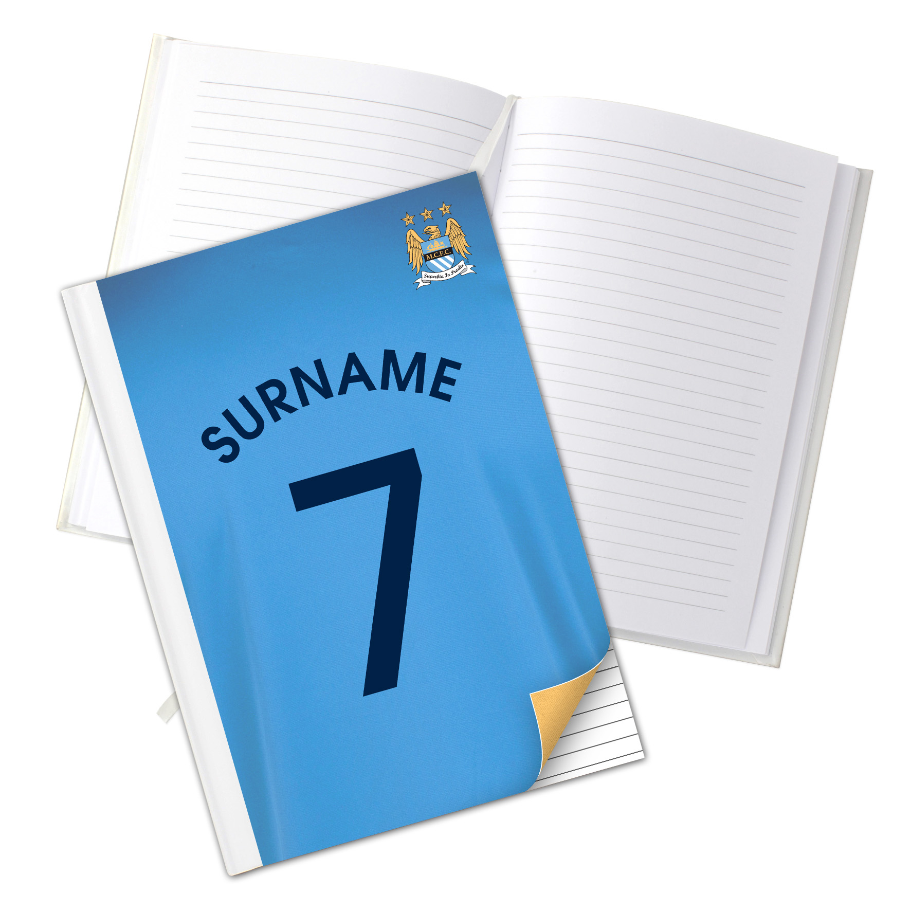 Manchester City Personalised Shirt Number A5 Hardback Notebook