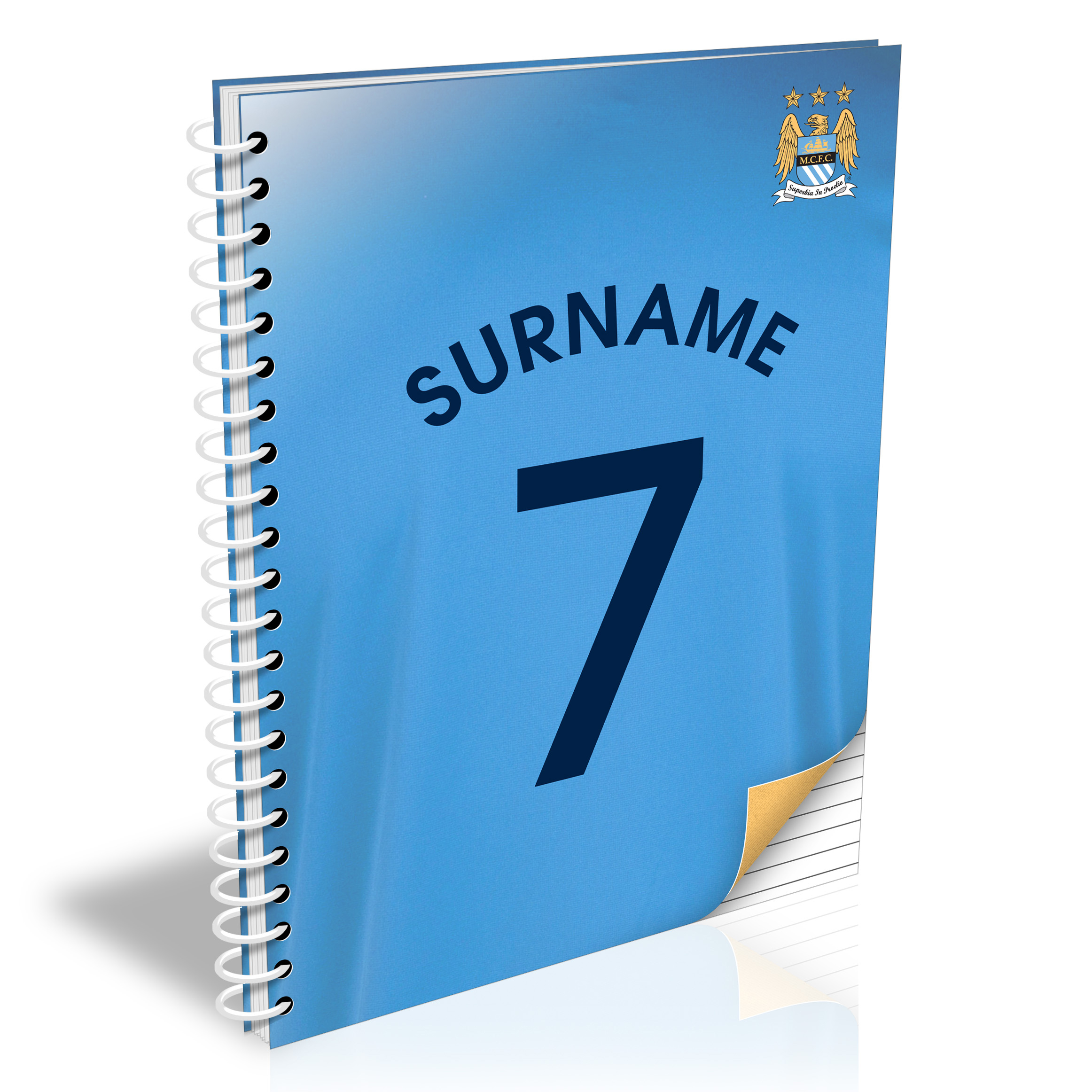 Manchester City Personalised Shirt Number A4 Paperback Notebook