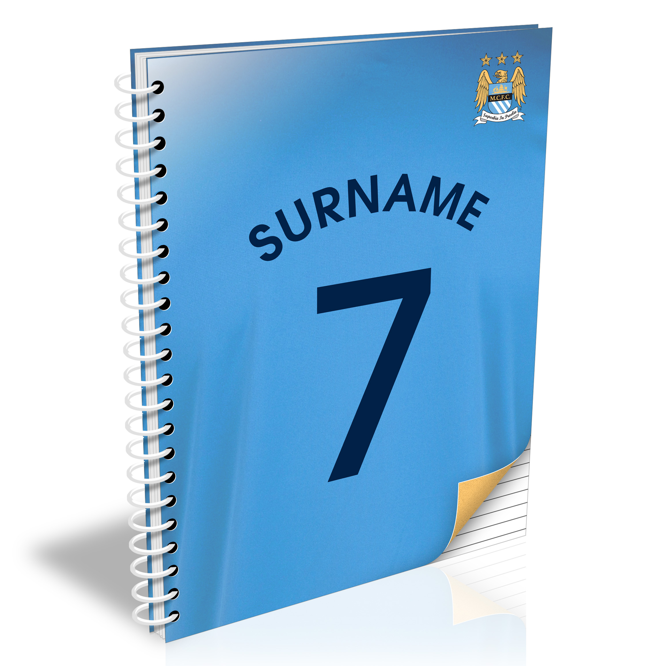 Manchester City Personalised Shirt Number A5 Paperback Notebook