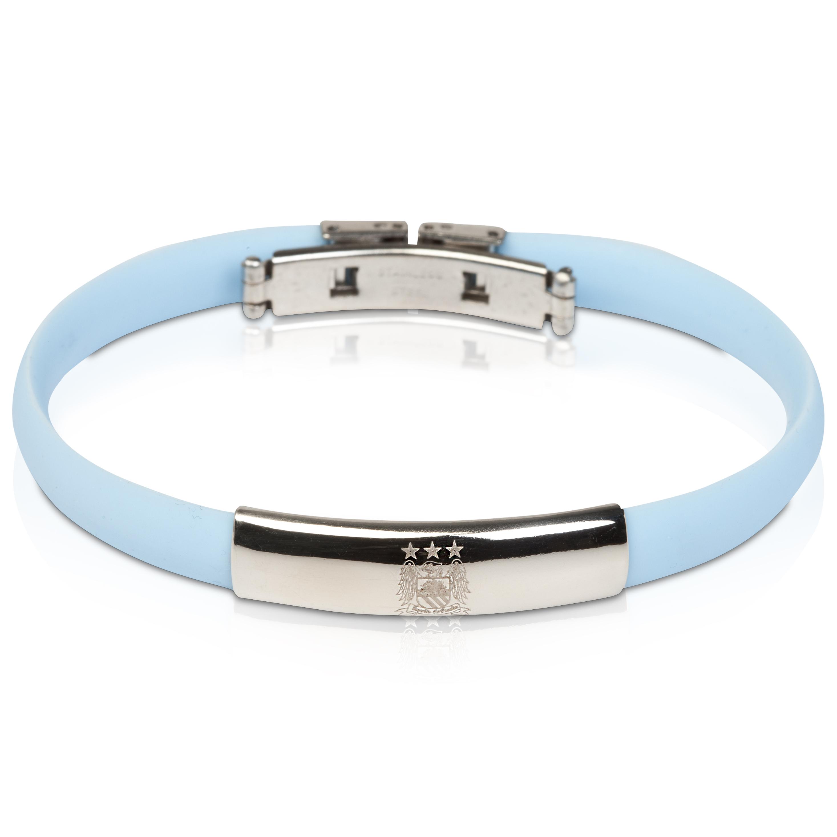 Manchester City Rubber Crest SS Bracelet