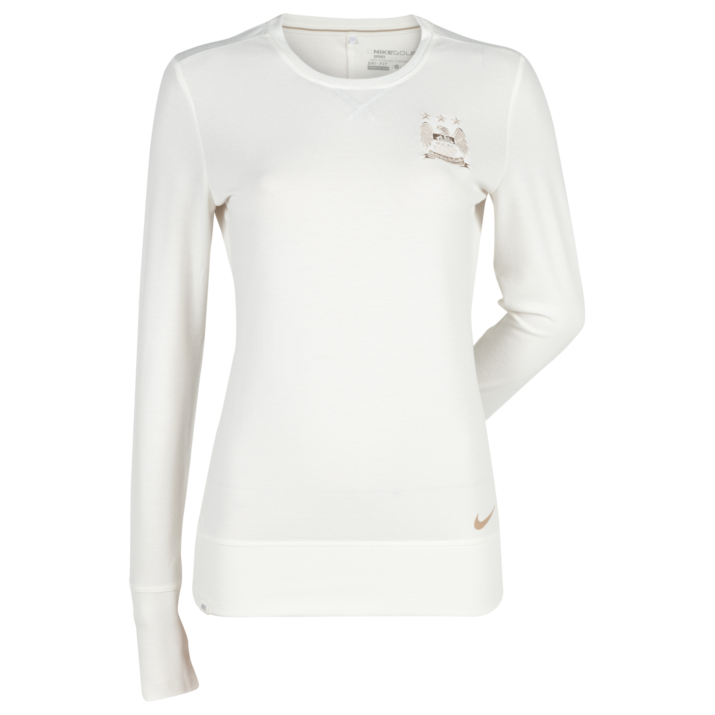 Manchester City Nike Sport Crew T-Shirt - Long Sleeve - Womens White