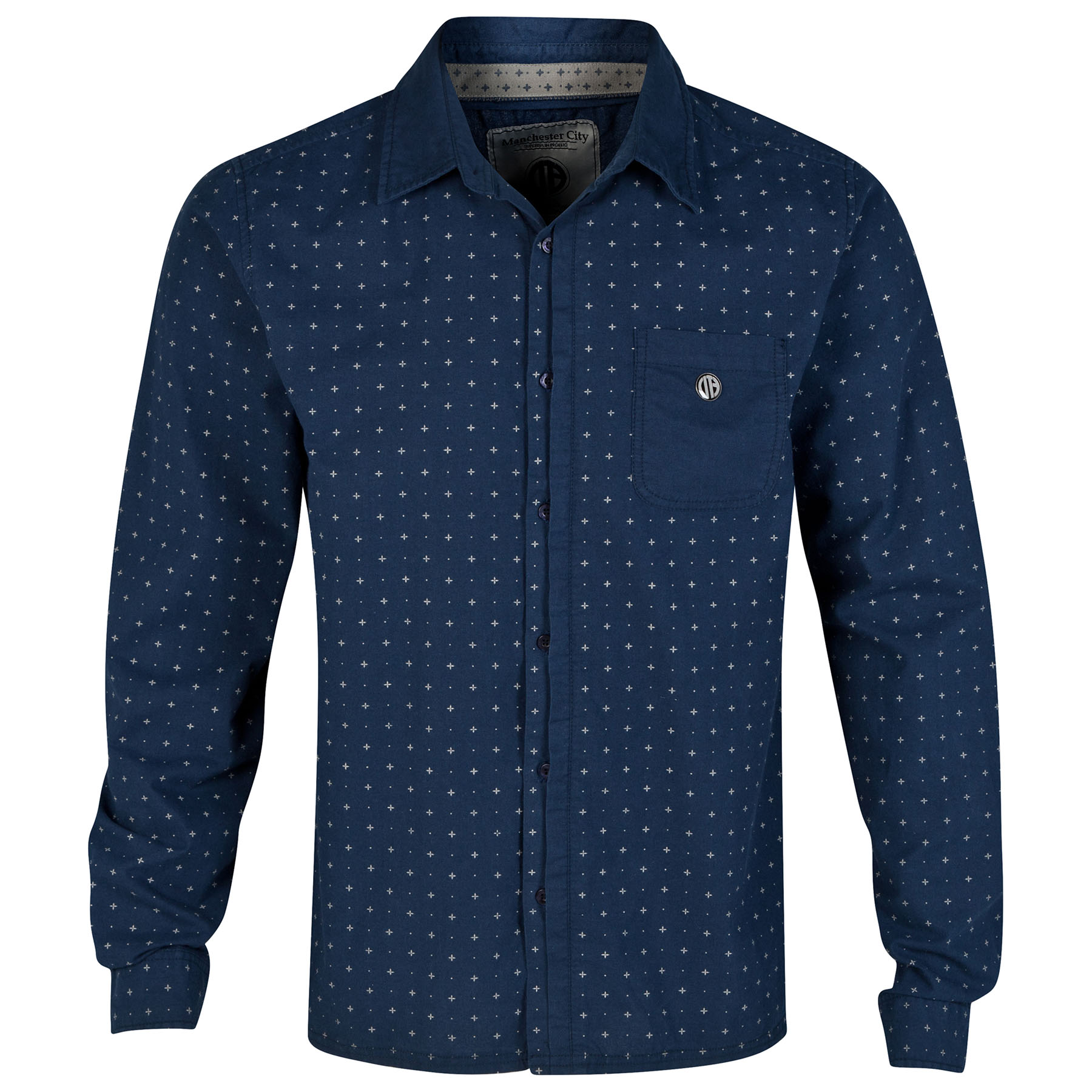 Manchester City Pattern Shirt - Navy - Mens